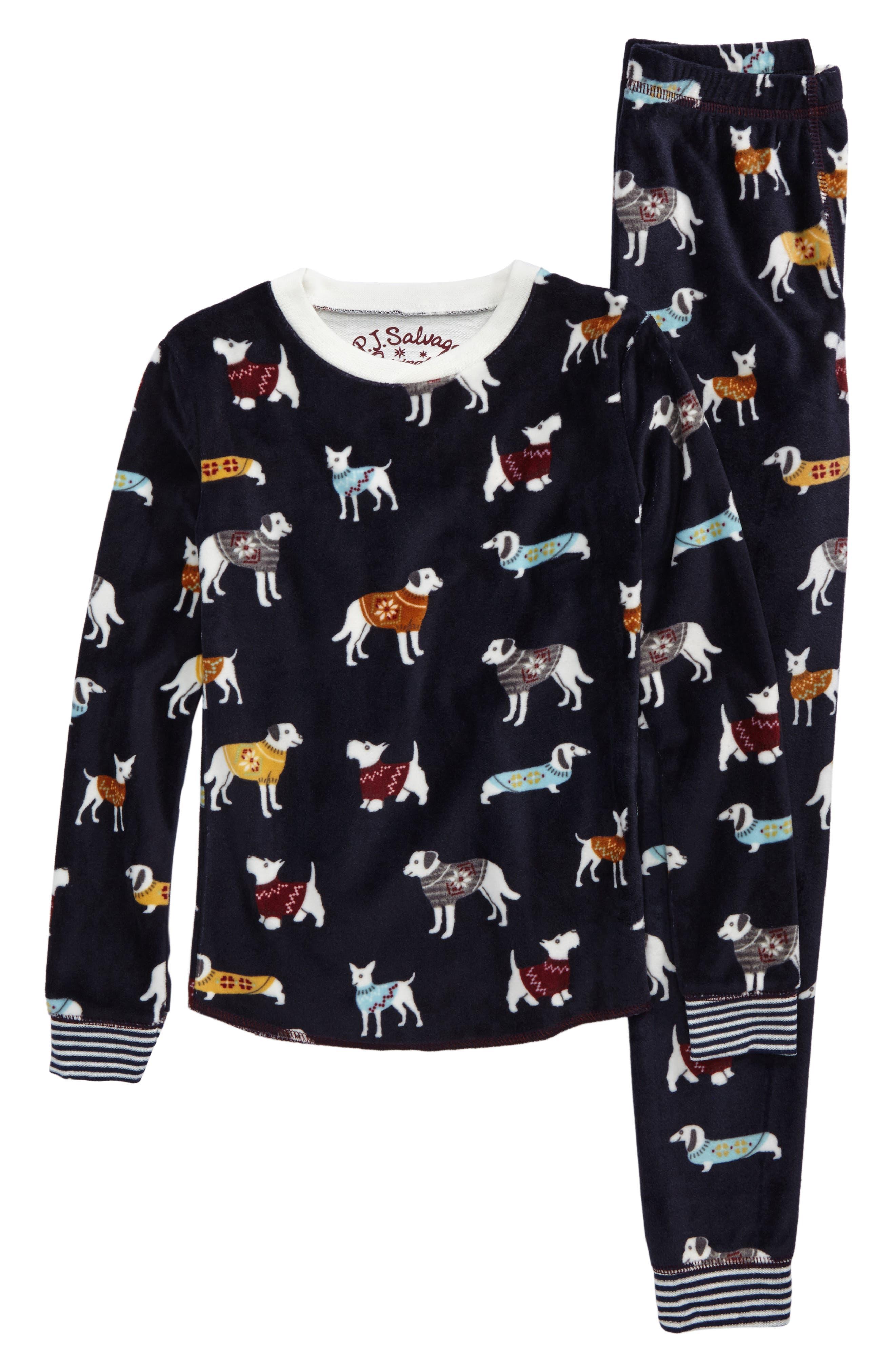 Main Image - PJ Salvage Fitted Print Fleece Two-Piece Pajamas (Toddler Girls, Little Girls & Big Girls)