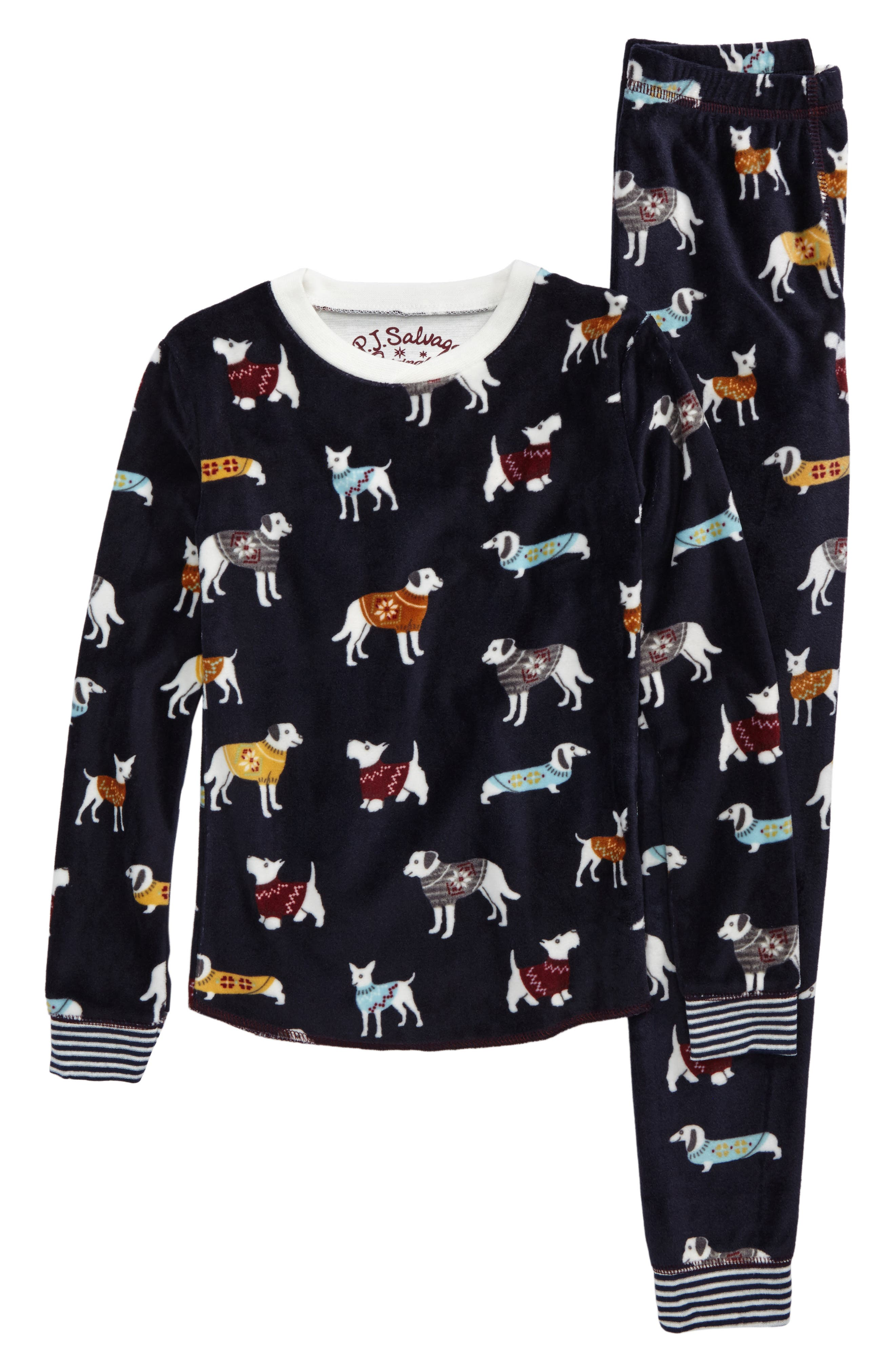 Fitted Print Fleece Two-Piece Pajamas,                         Main,                         color, Navy