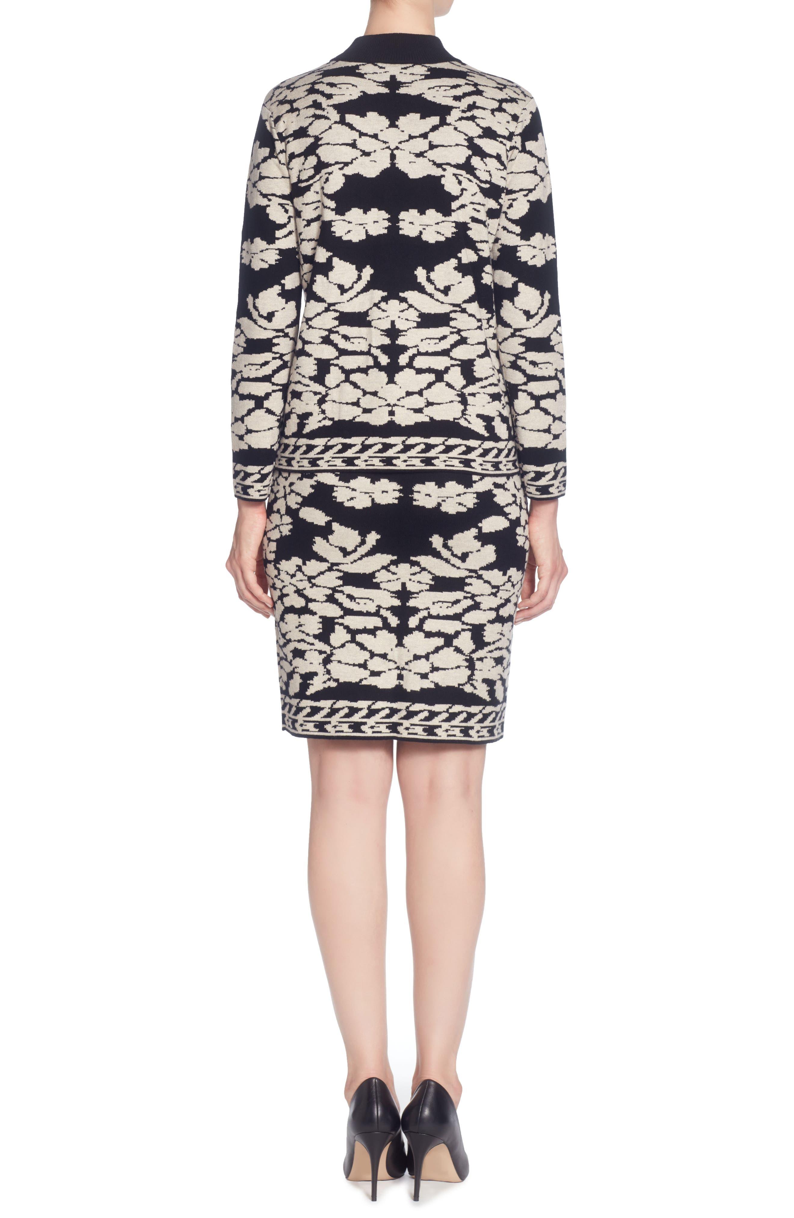 Uffie Floral Knit Skirt,                             Alternate thumbnail 2, color,                             Black/ Neutral