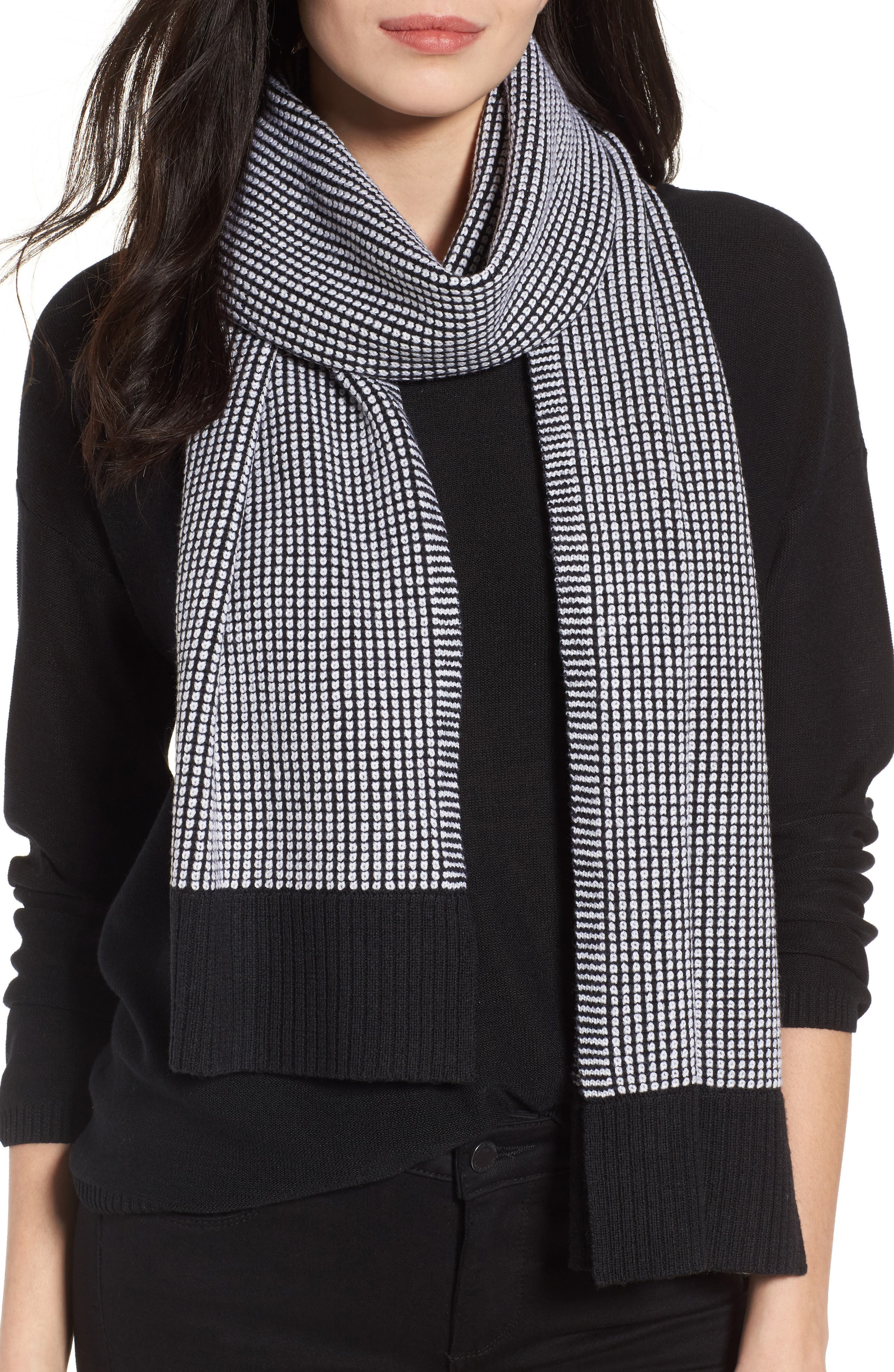 Merino Wool Scarf,                         Main,                         color, Black/ Soft White