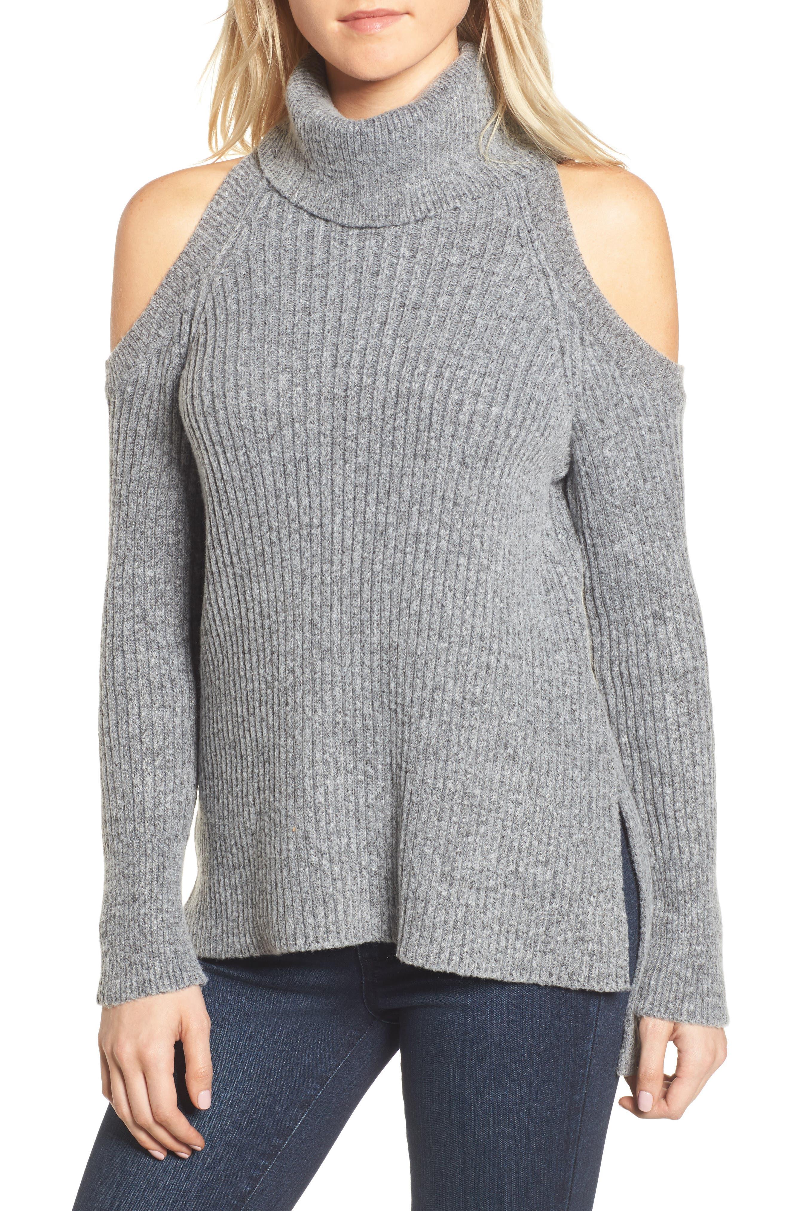 Rodell Cold Shoulder Sweater,                         Main,                         color, Medium Heather Grey