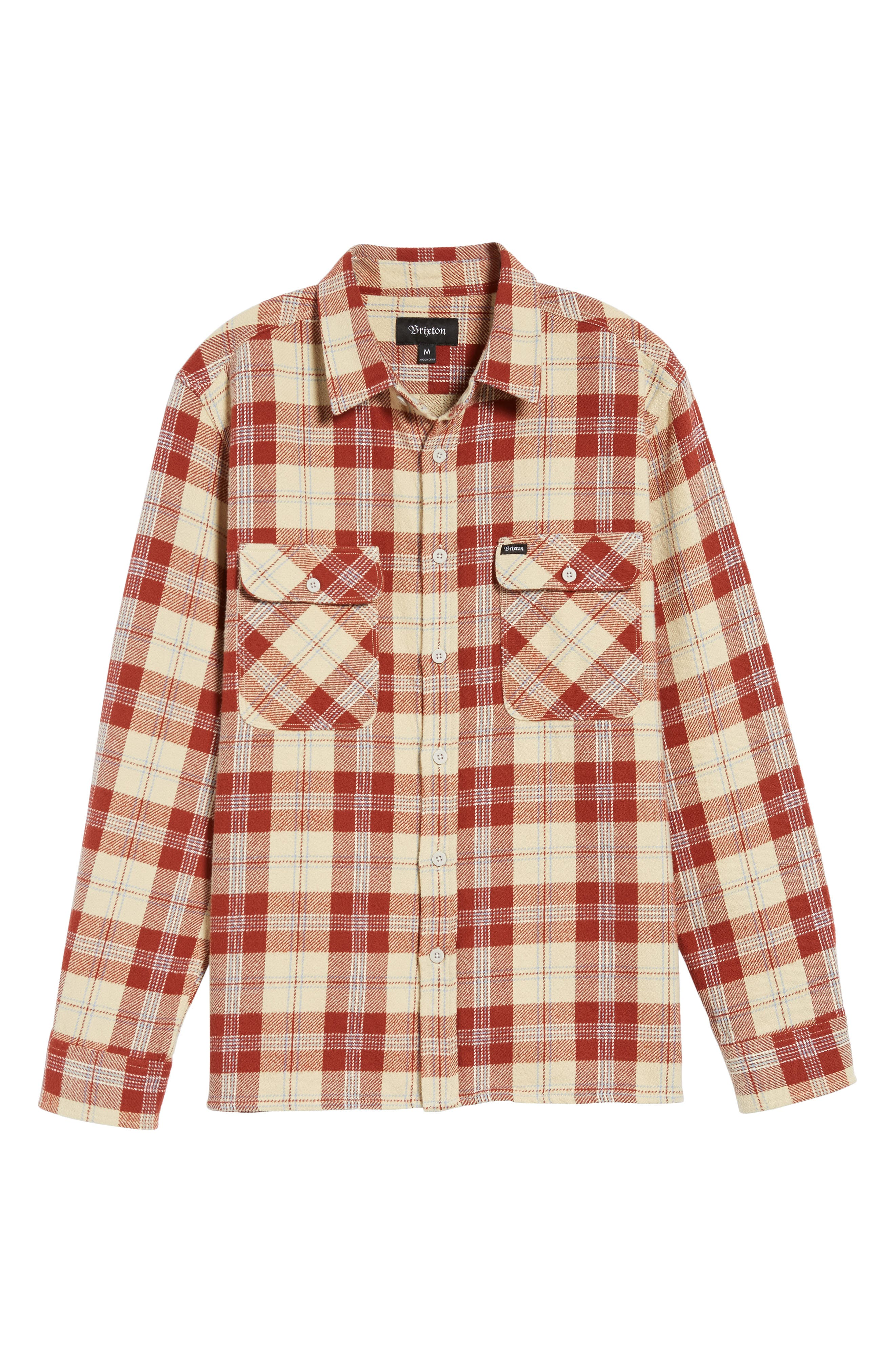 'Archie' Plaid Flannel Shirt,                         Main,                         color, Brick