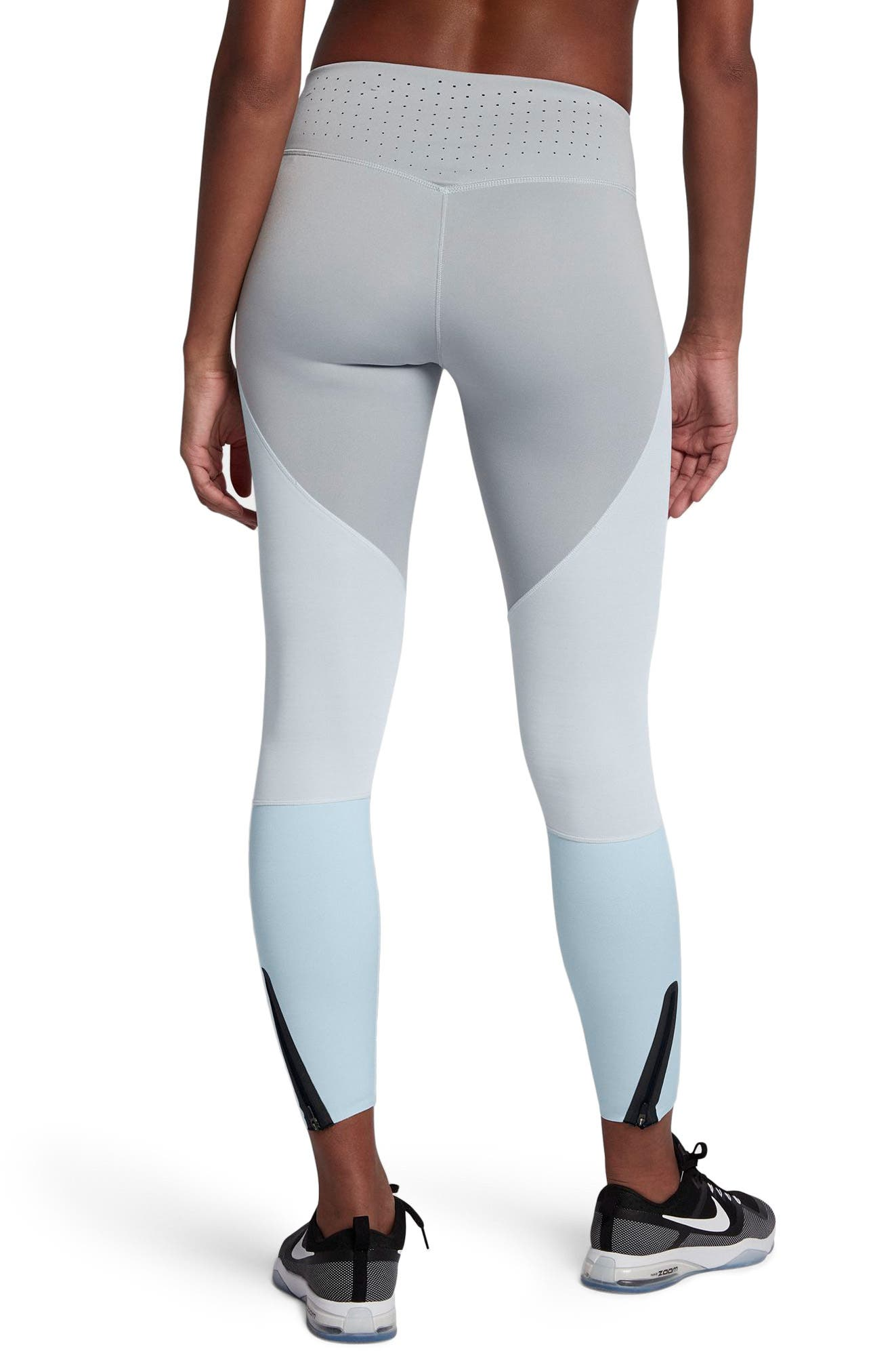 Legendary Mid Rise Zip Cuff Training Tights,                             Alternate thumbnail 2, color,                             Platinum/ Heather/ Blue/ Black