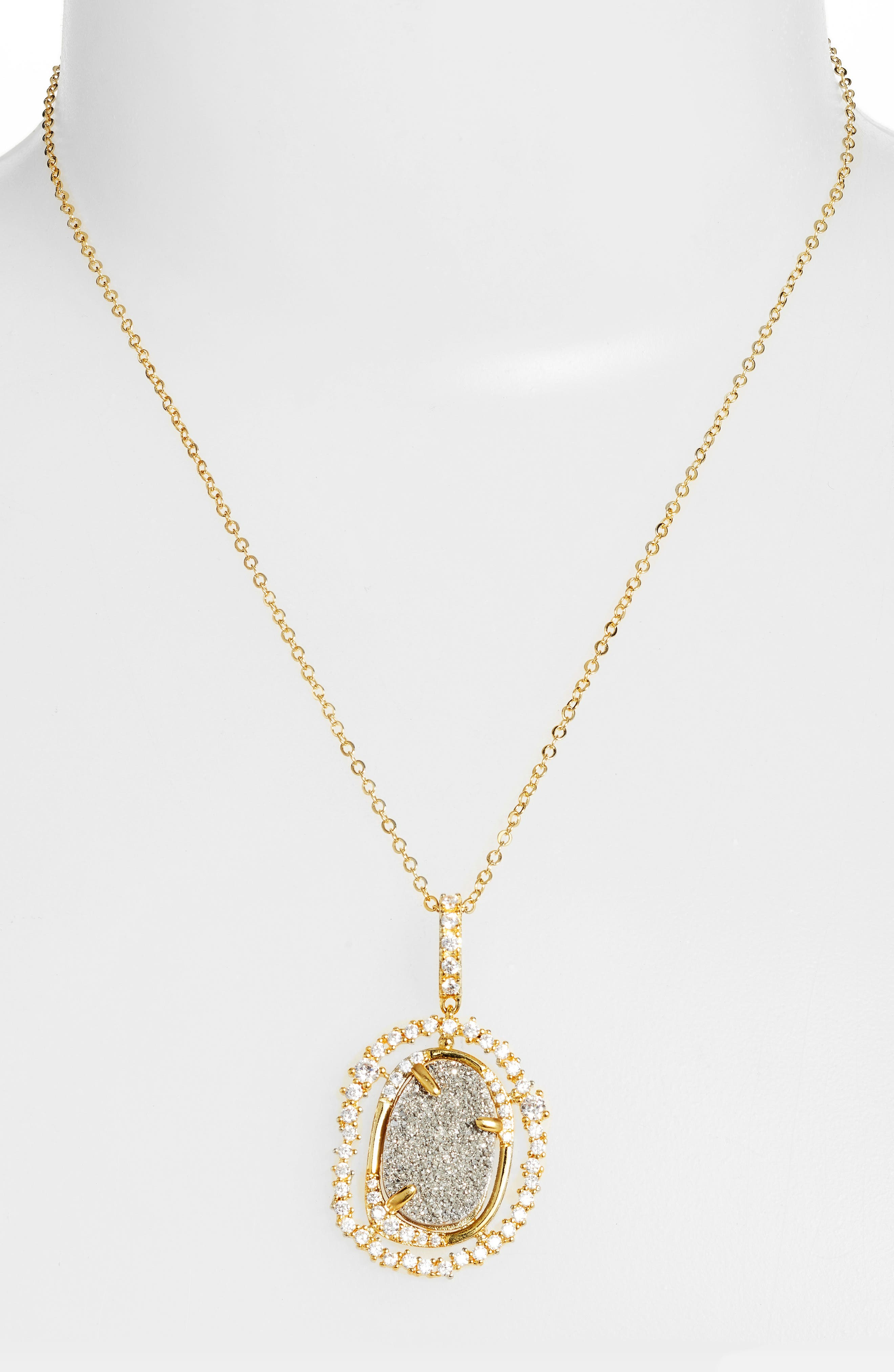 Loriann Pendant Necklace,                             Main thumbnail 1, color,                             Grey Druzy/ Gold