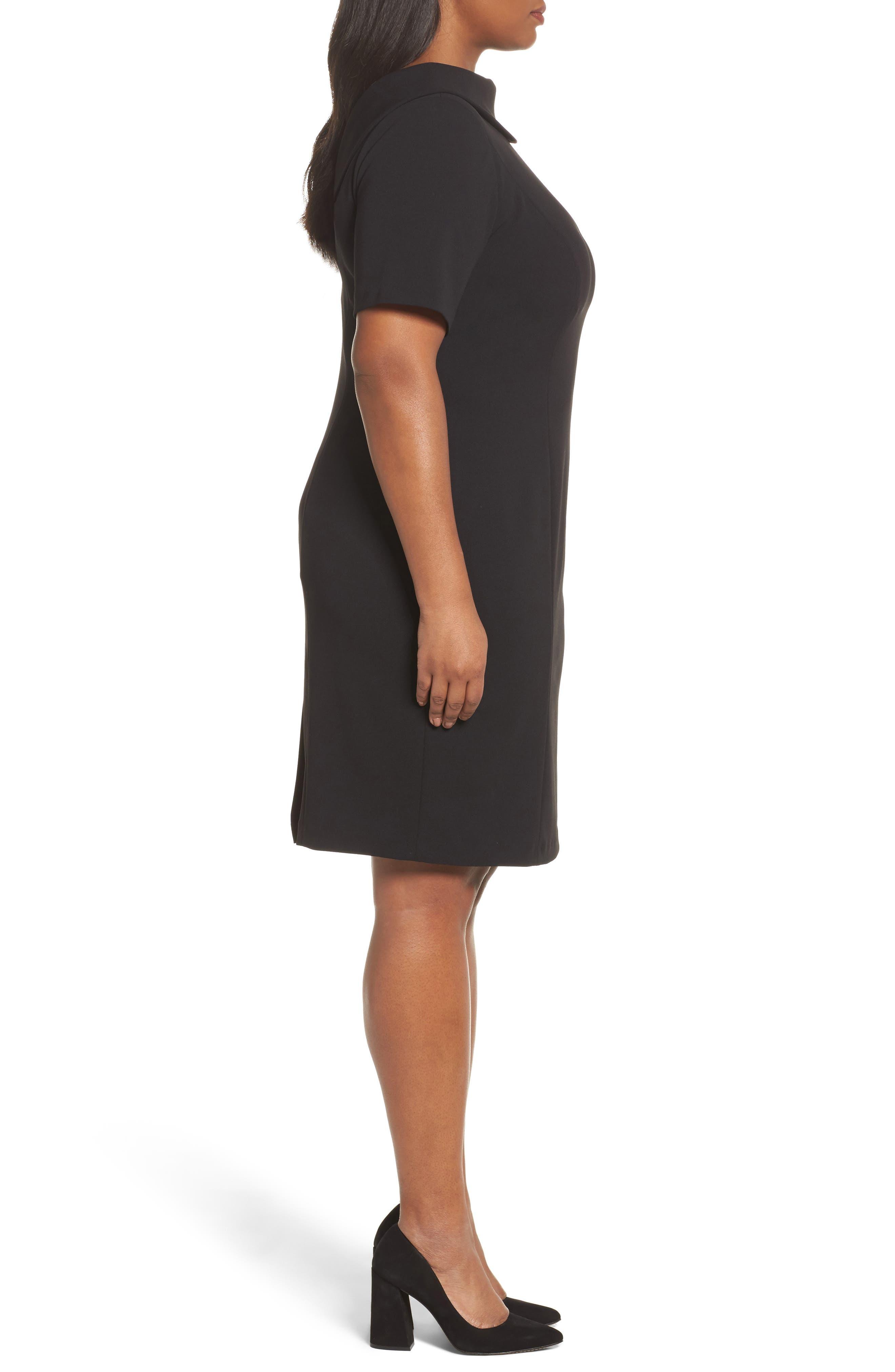 V-Back Sheath Dress,                             Alternate thumbnail 3, color,                             Black