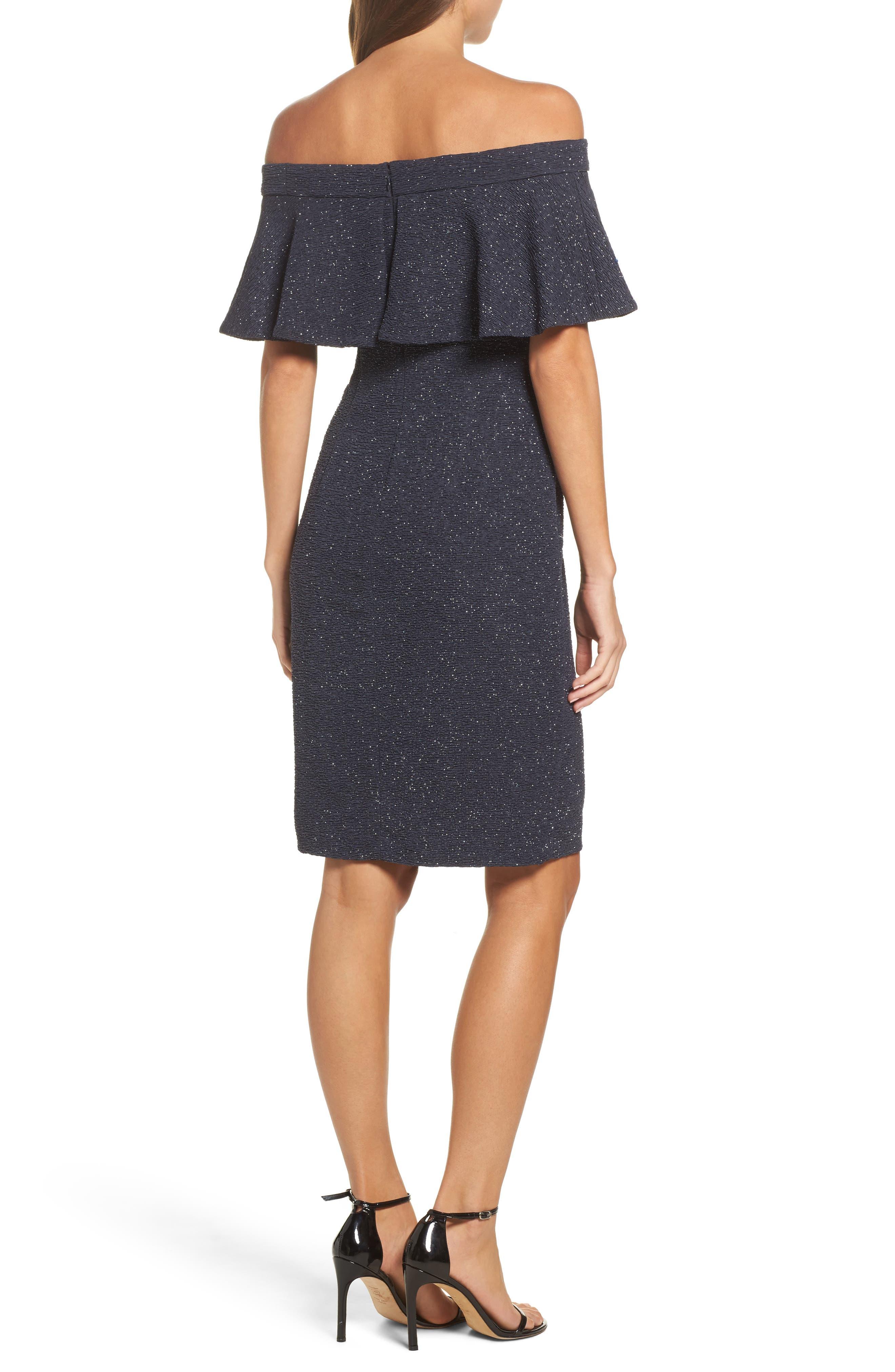 Alternate Image 2  - Eliza J Glitter Knit Ruffle Off the Shoulder Dress