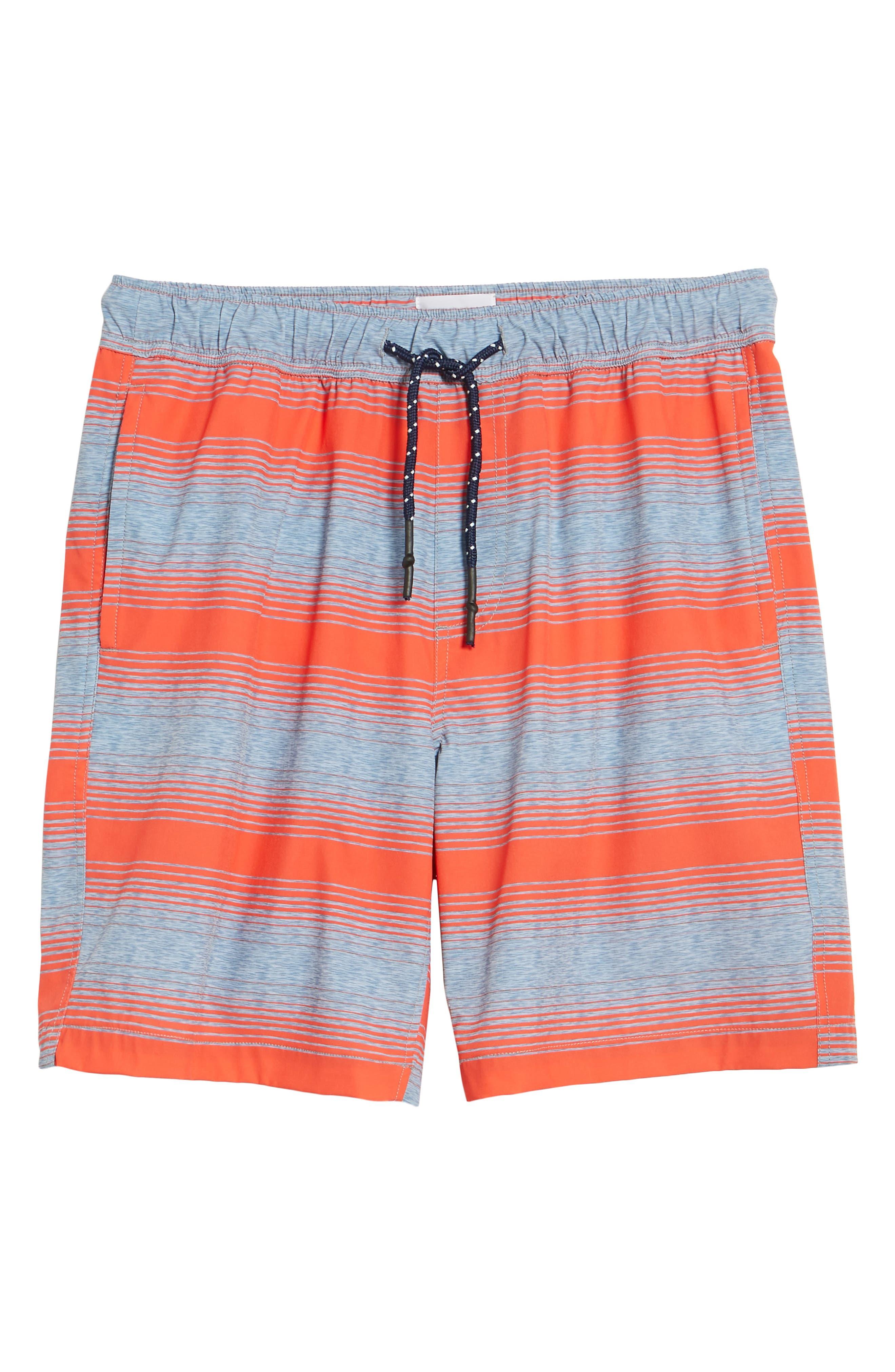 Stripe Swim Trunks,                             Alternate thumbnail 6, color,                             Hot Coral