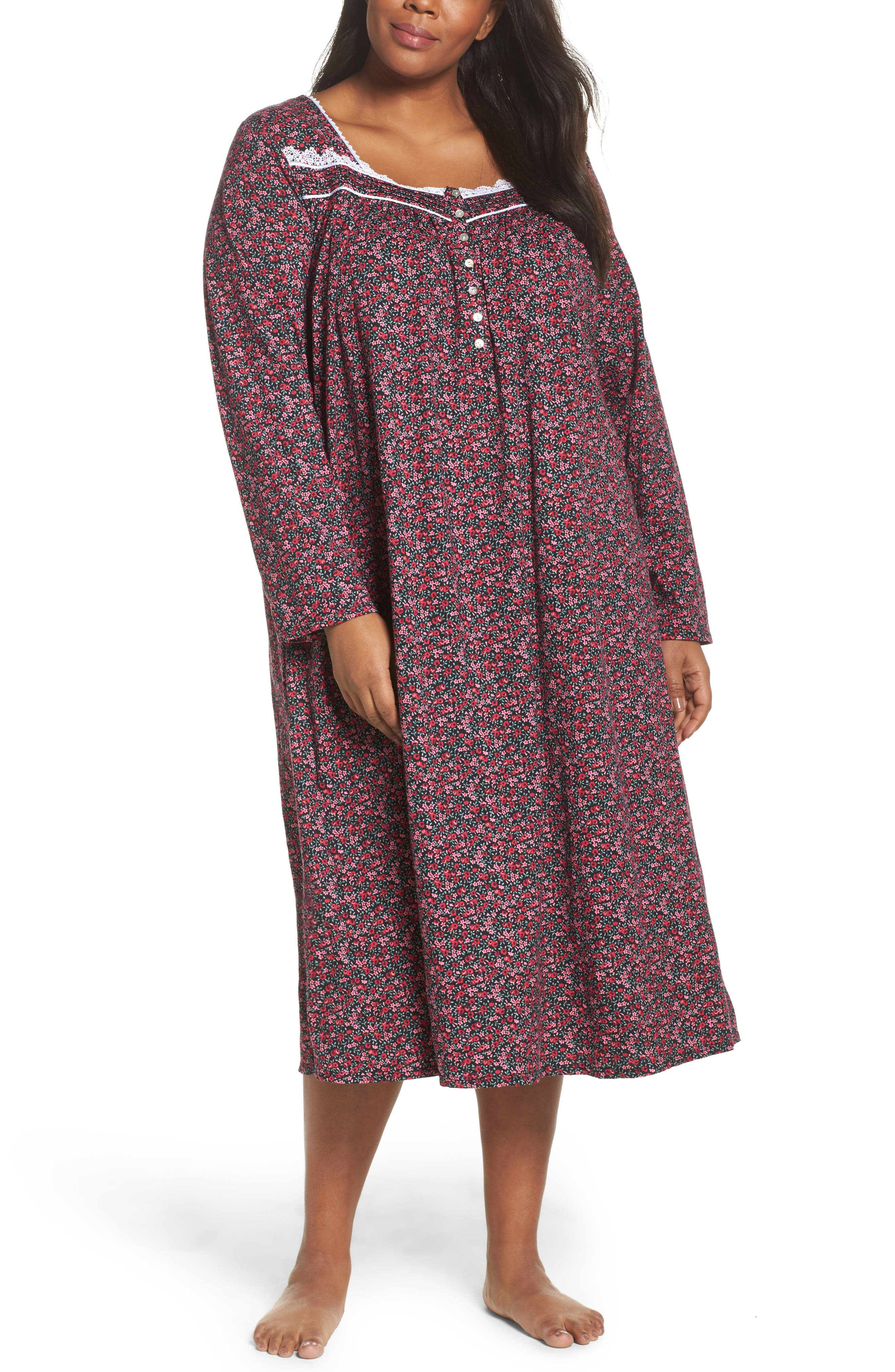 Cotton Nightgown,                         Main,                         color, Black With Floral Multi