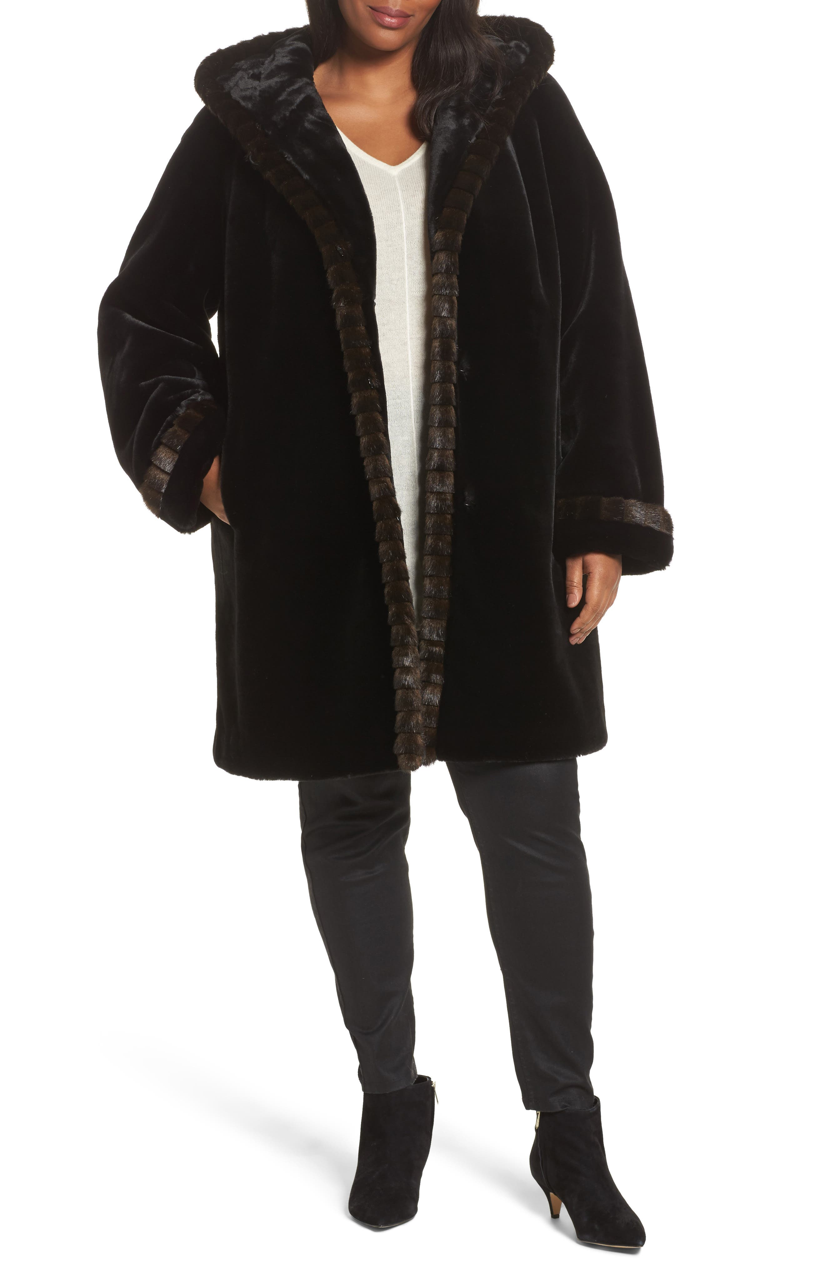 Gallery Hooded Faux Fur Coat (Plus Size)