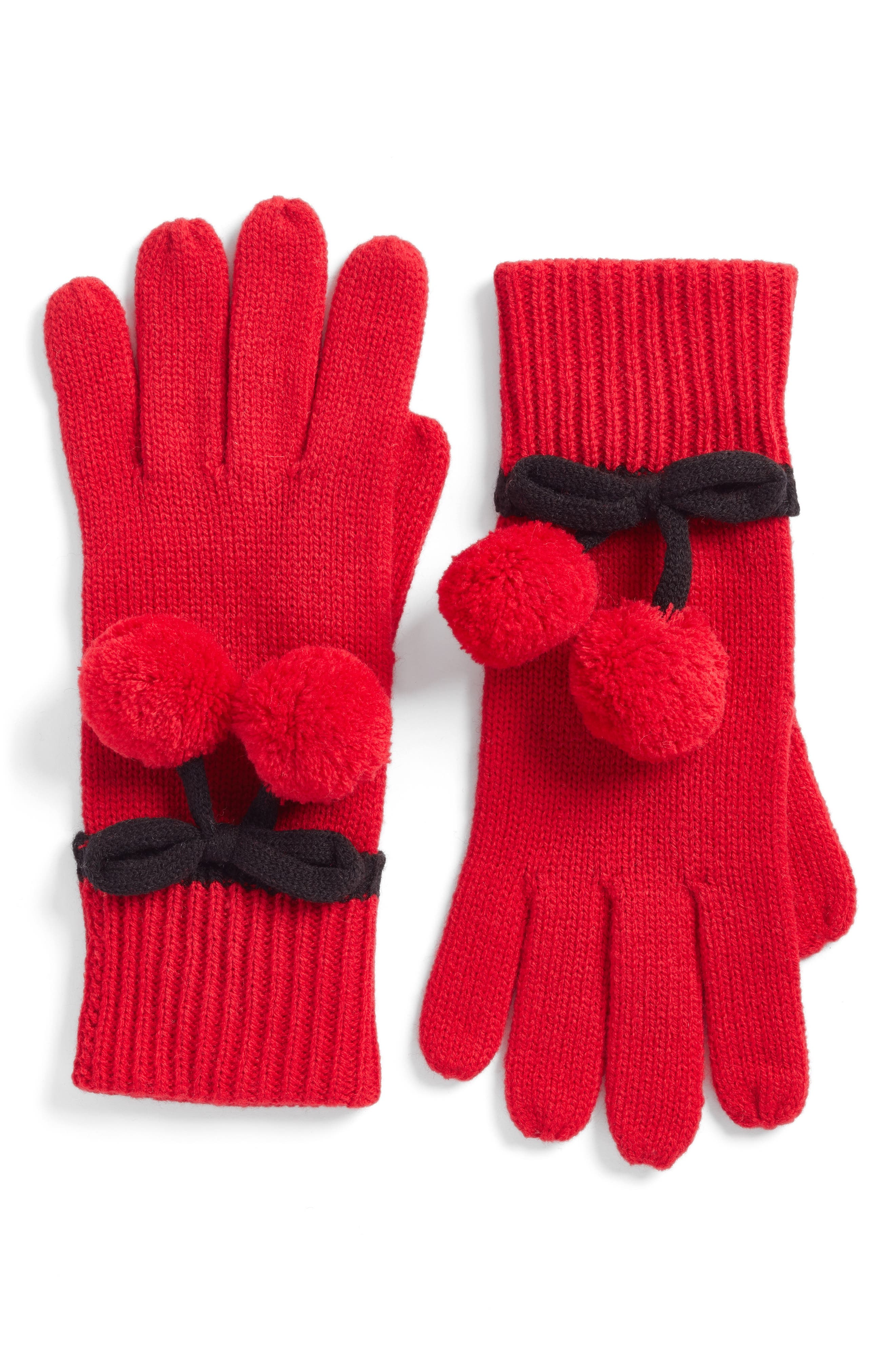 bow pom gloves,                             Main thumbnail 1, color,                             Charm Red