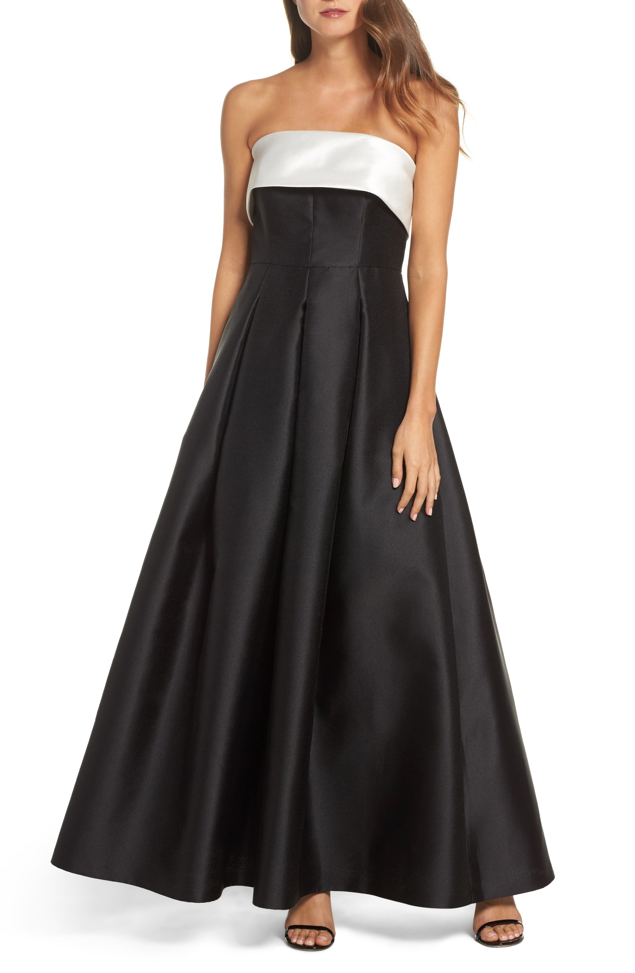 Strapless Gown,                         Main,                         color, Ivory Black