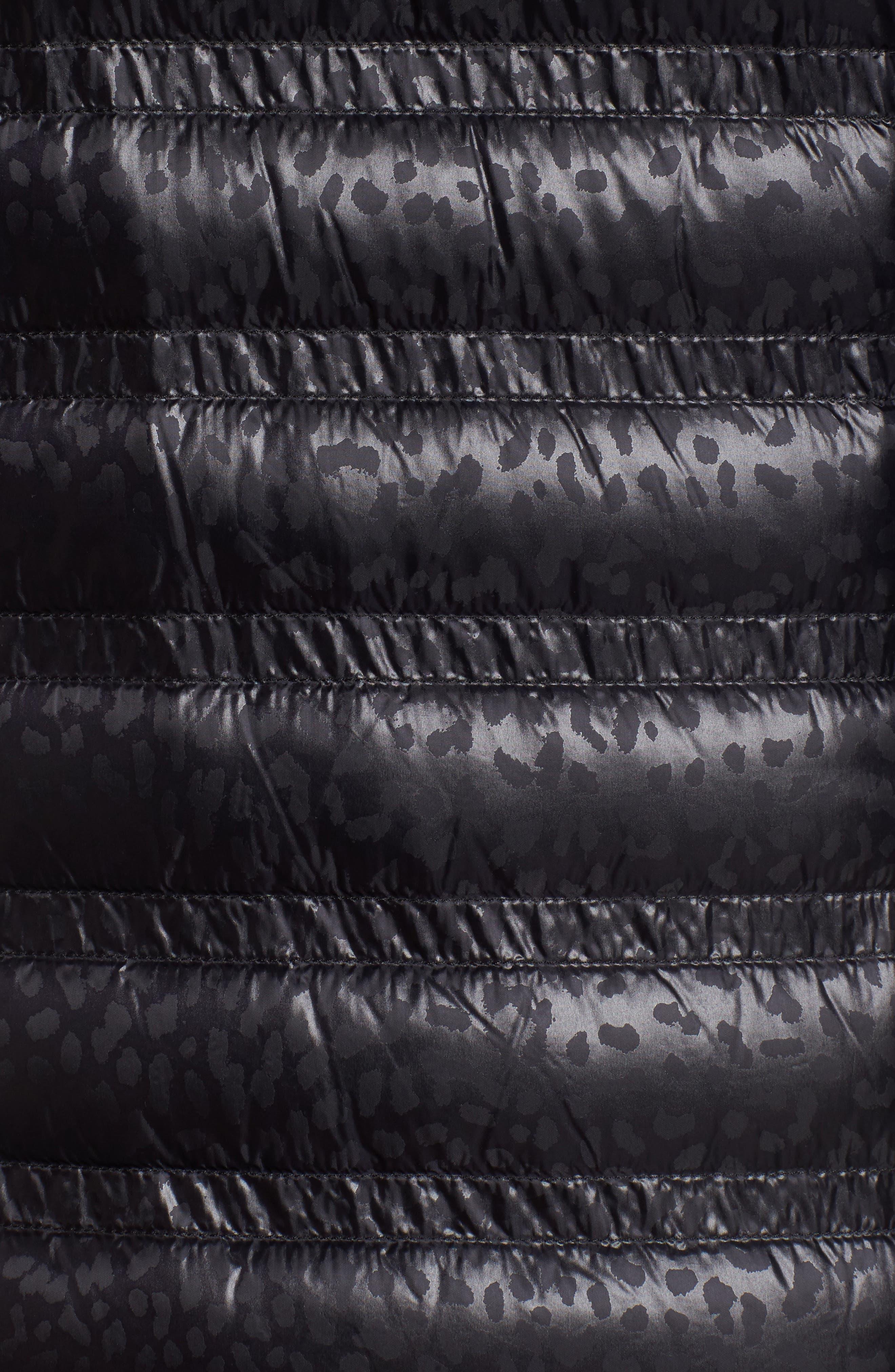 Grosgrain Trim Mixed Media Down Jacket,                             Alternate thumbnail 4, color,                             Black