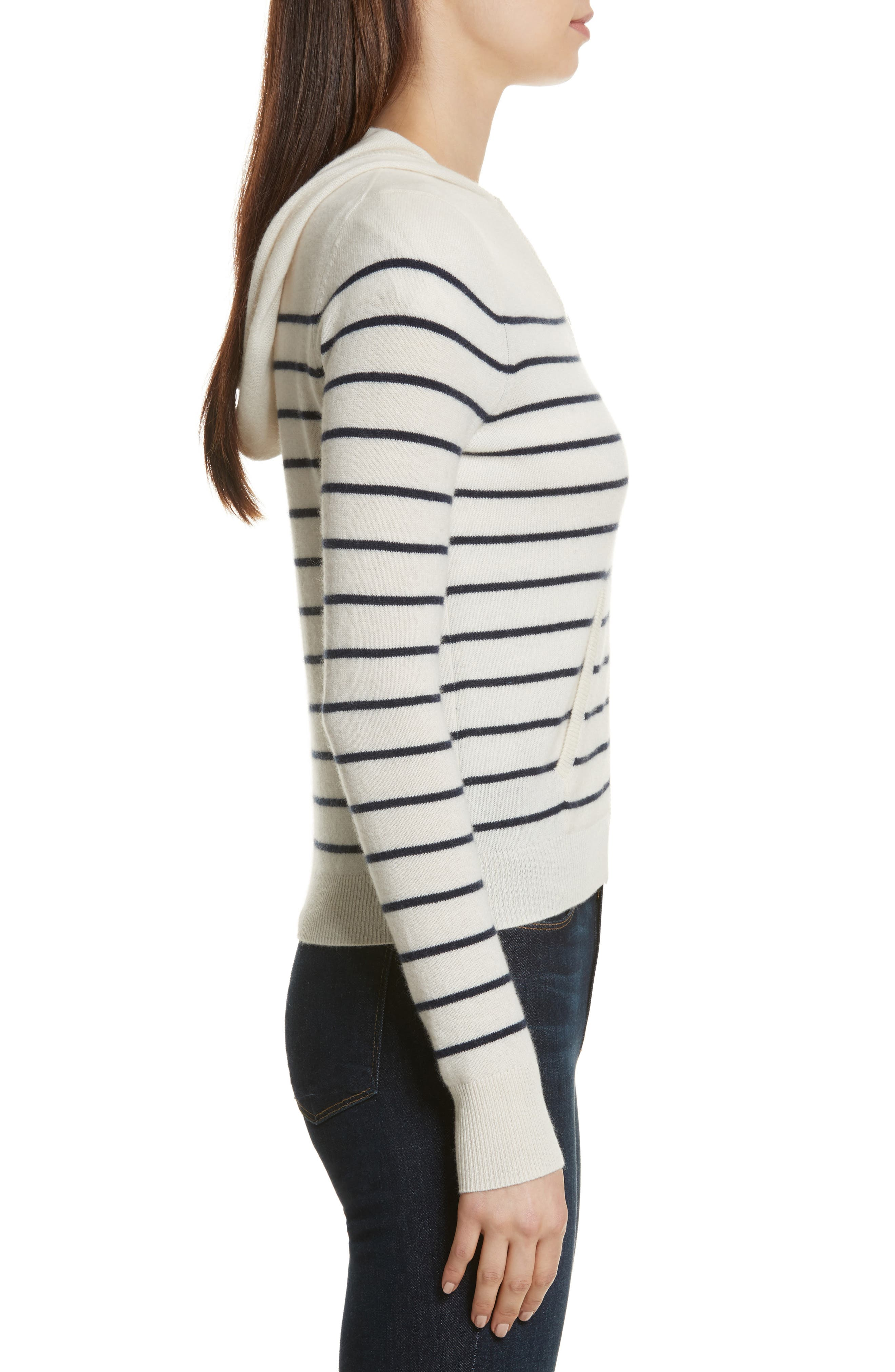 The Drake Stripe Cashmere Hoodie Sweater,                             Alternate thumbnail 3, color,                             Cream/ Navy