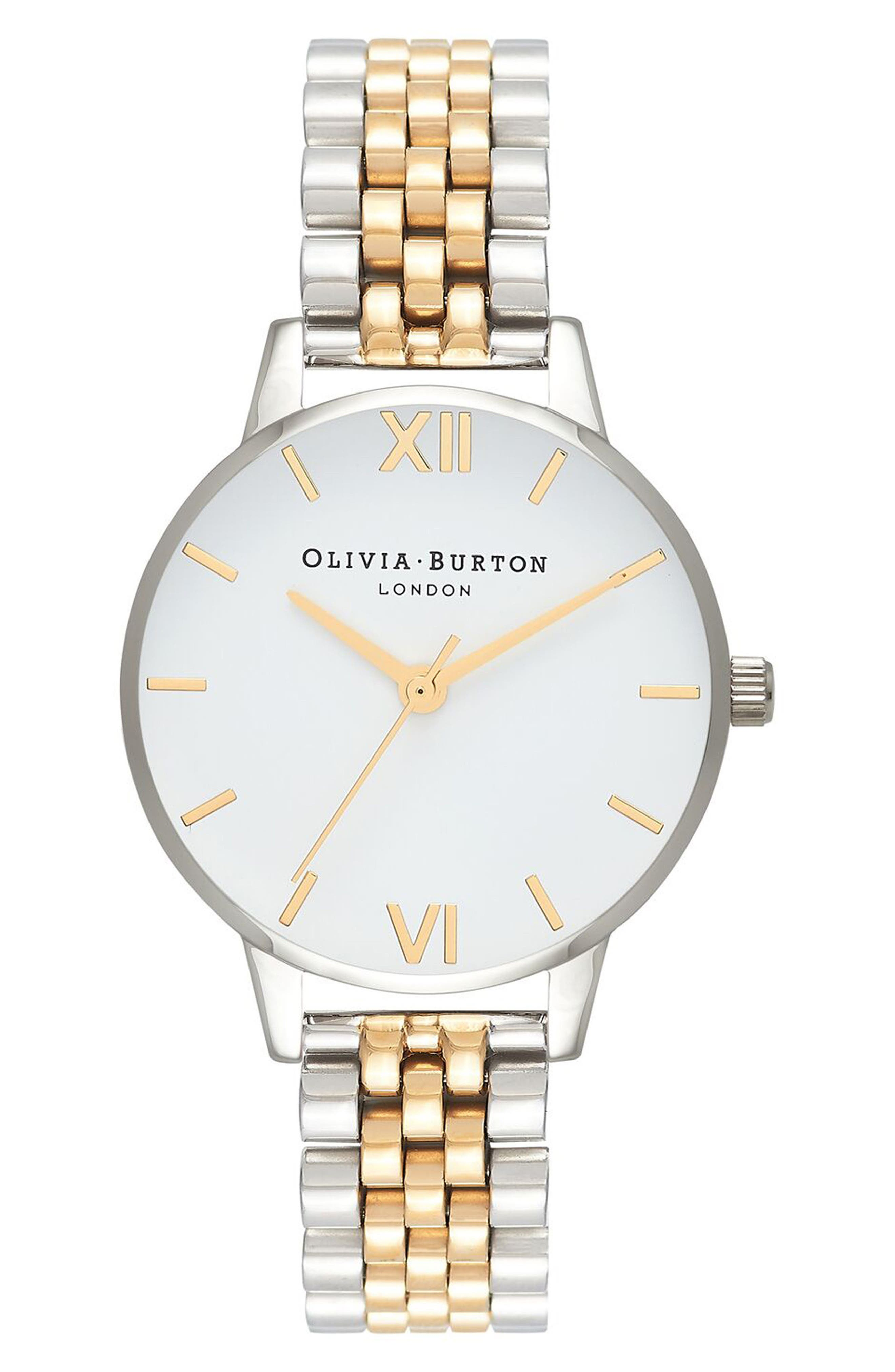 Main Image - Olivia Burton Two-Tone Round Bracelet Watch, 30mm