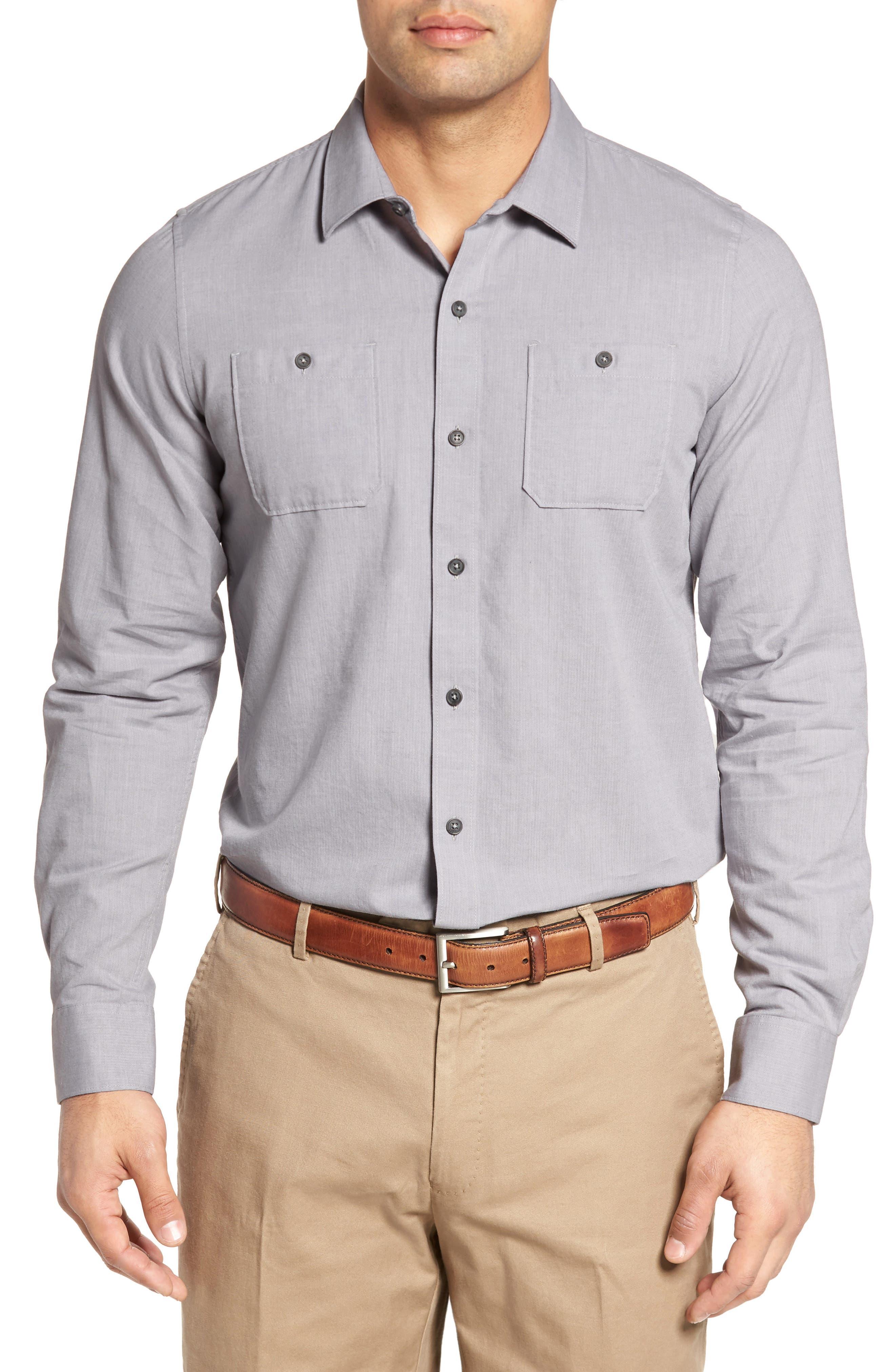 Gotemba Slim Fit Herringbone Sport Shirt,                         Main,                         color, Heather Quiet Shade