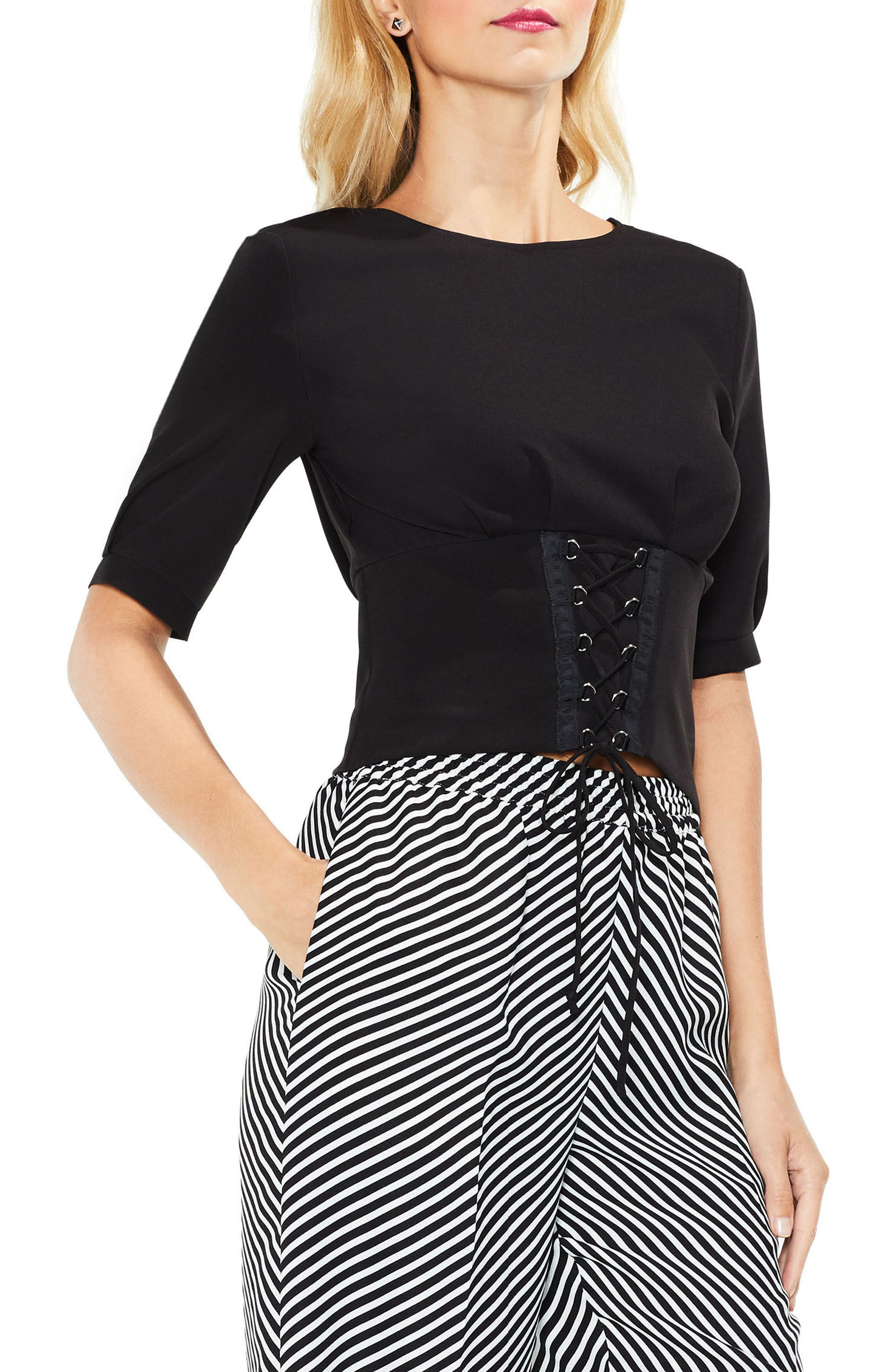 Lace-Up Tie Front Blouse,                             Main thumbnail 1, color,                             Rich Black