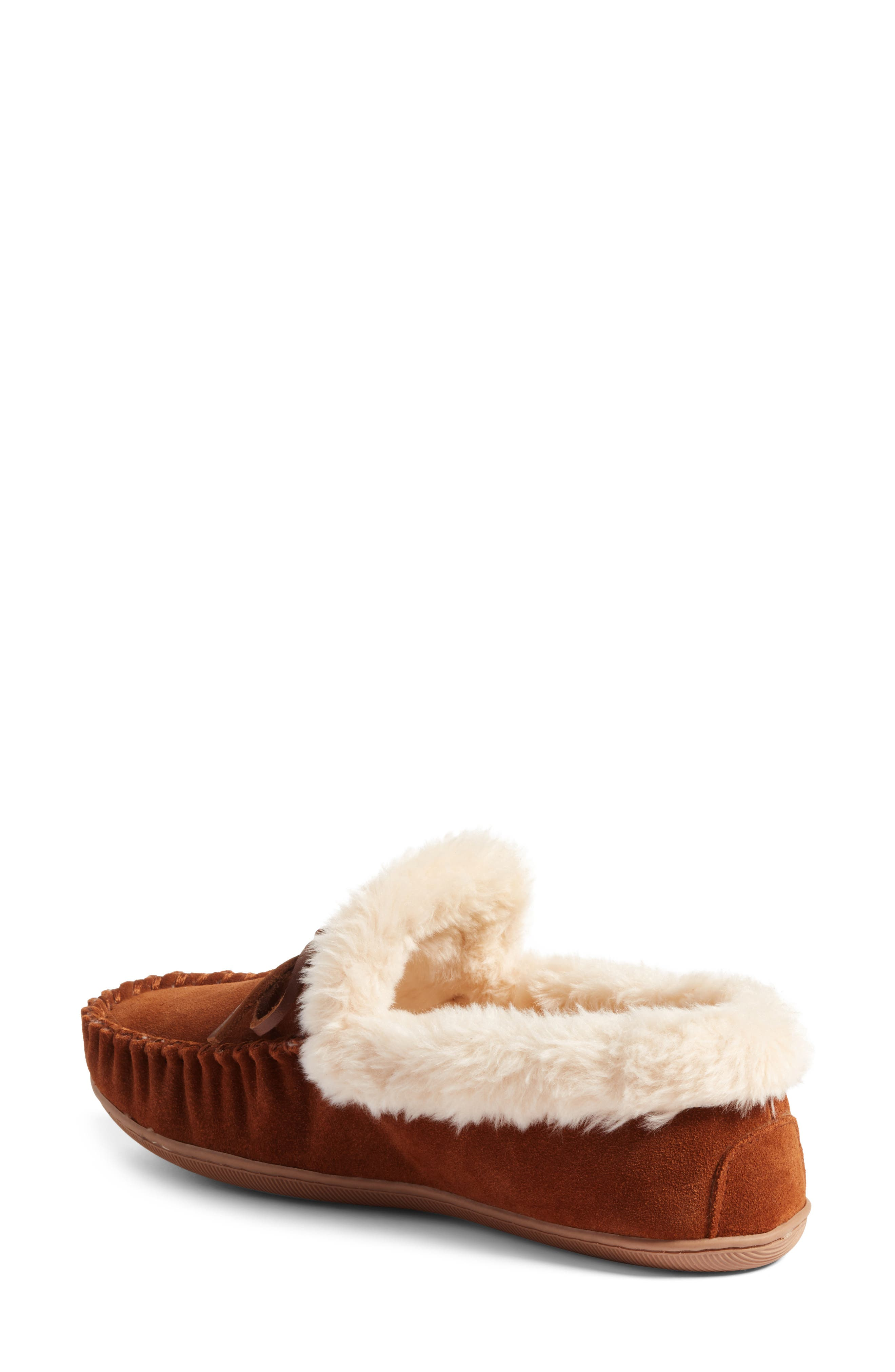 J.Crew Lodge Faux Shearling Moc Slipper,                             Alternate thumbnail 3, color,                             Dark Nutmeg Suede