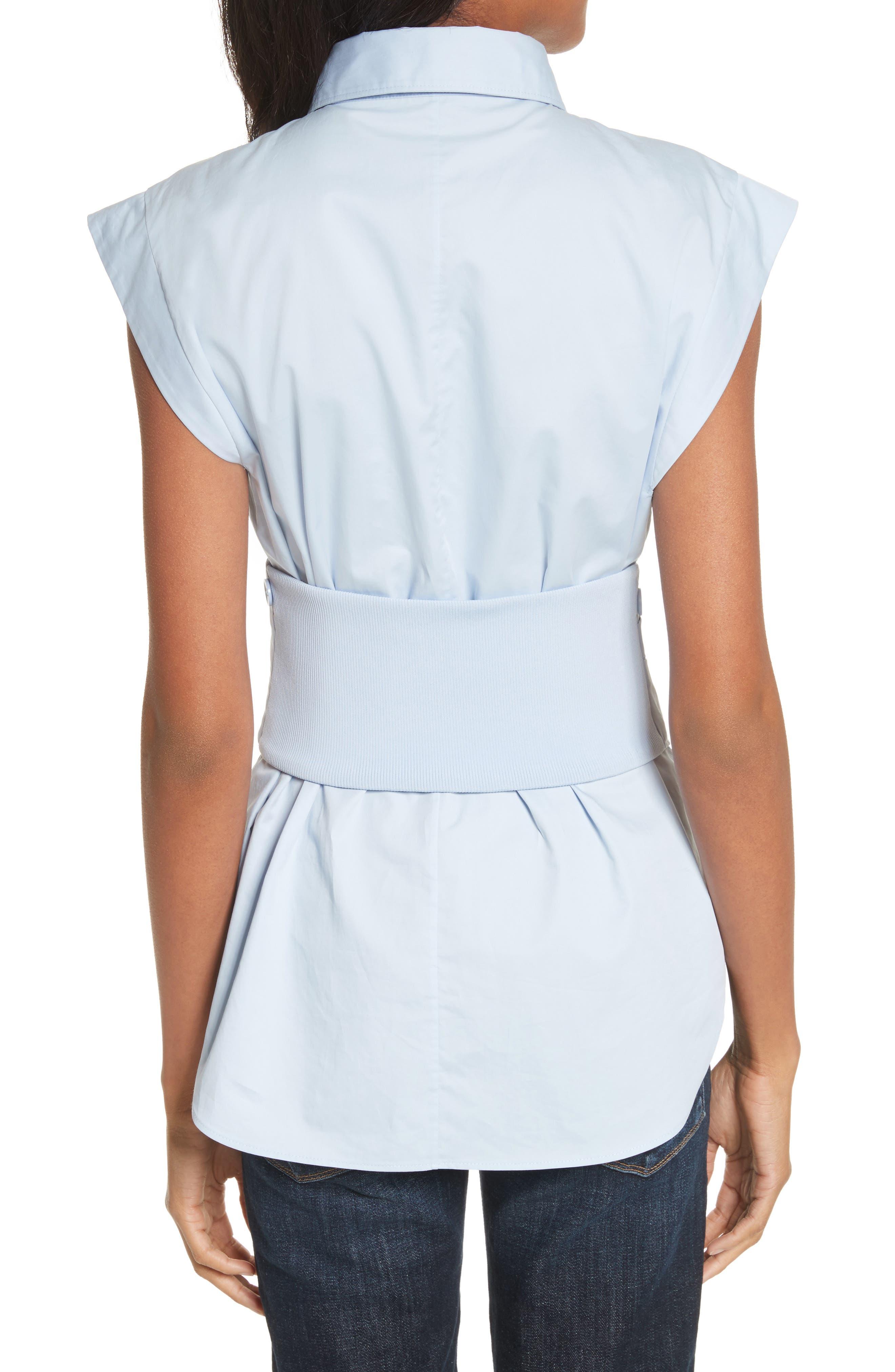 Cap Sleeve Corset Shirt,                             Alternate thumbnail 2, color,                             Morning Blue