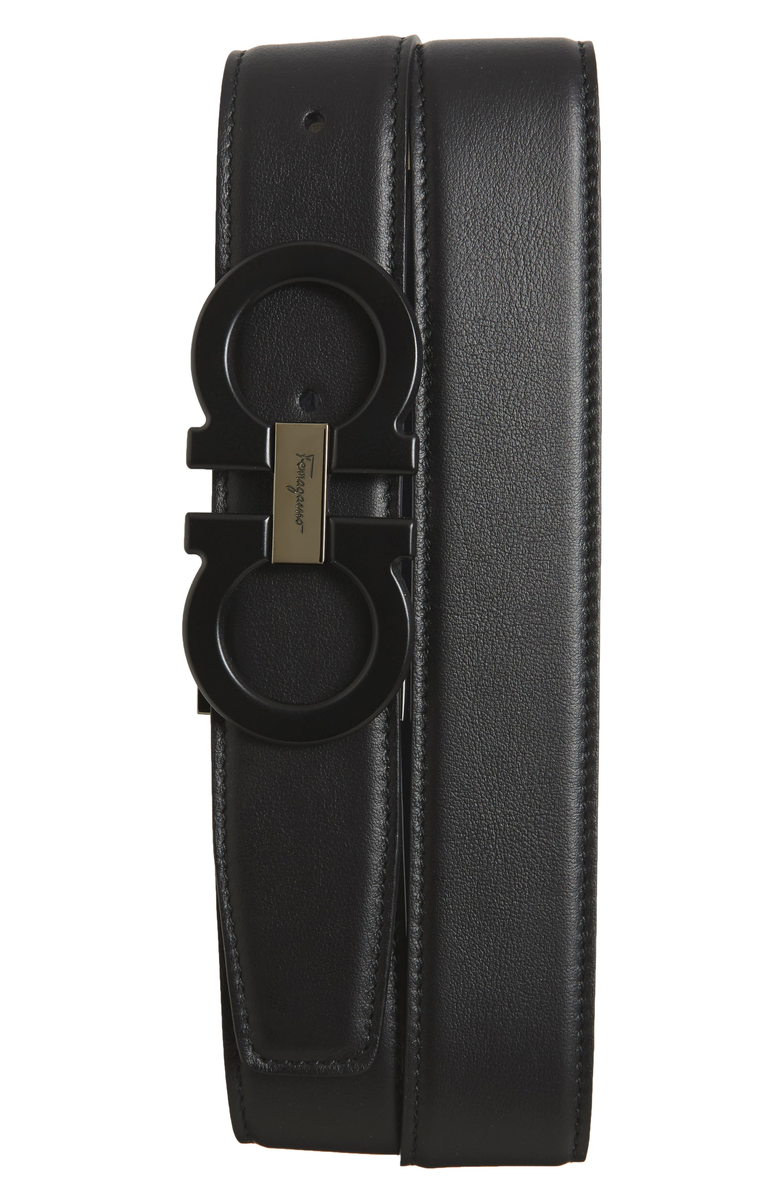 Double Gancini Reversible Leather Belt,                         Main,                         color, Black/ Blue Marine