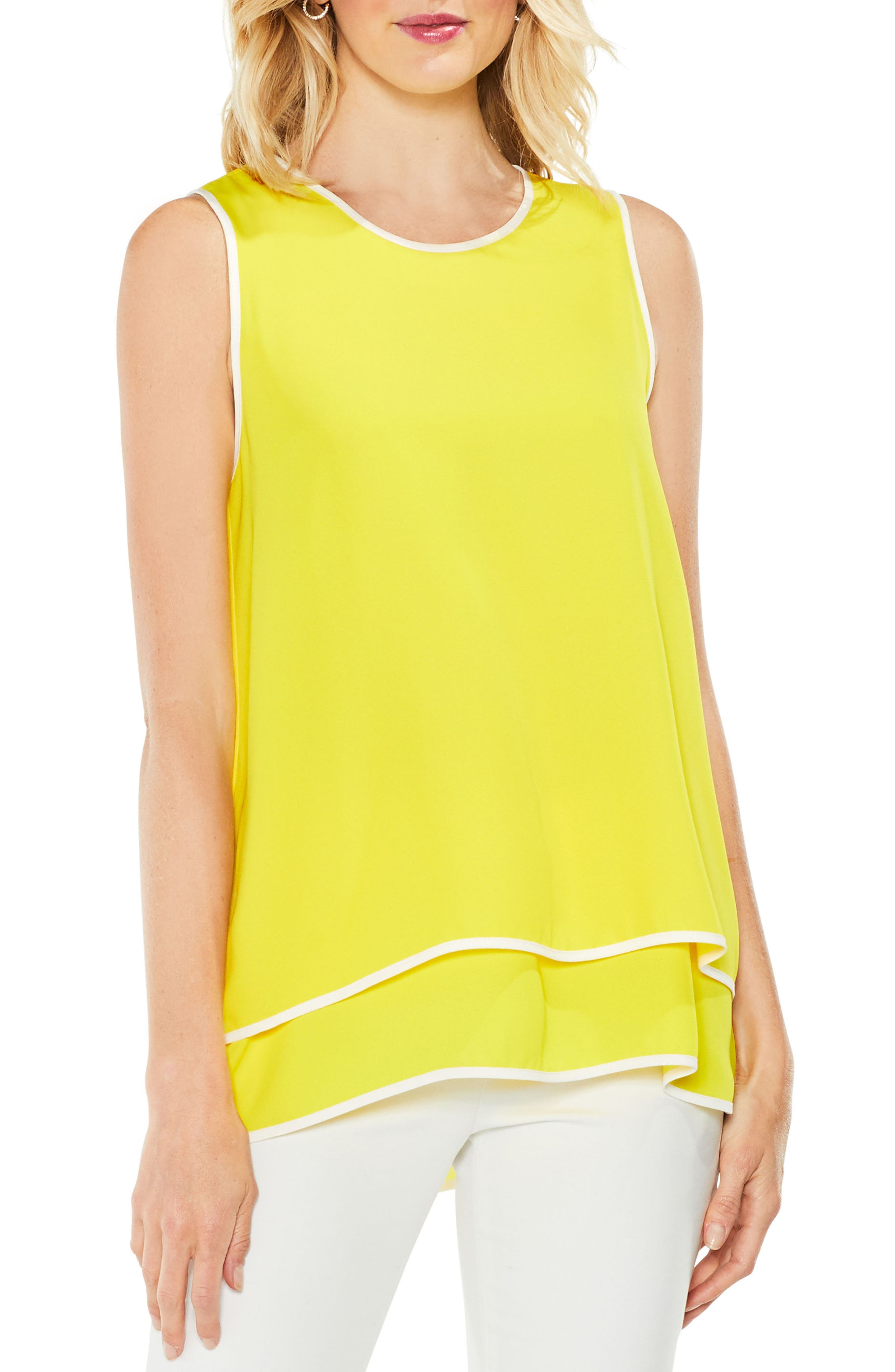 Double-Layer Colorblock Top,                         Main,                         color, Cabana Yellow