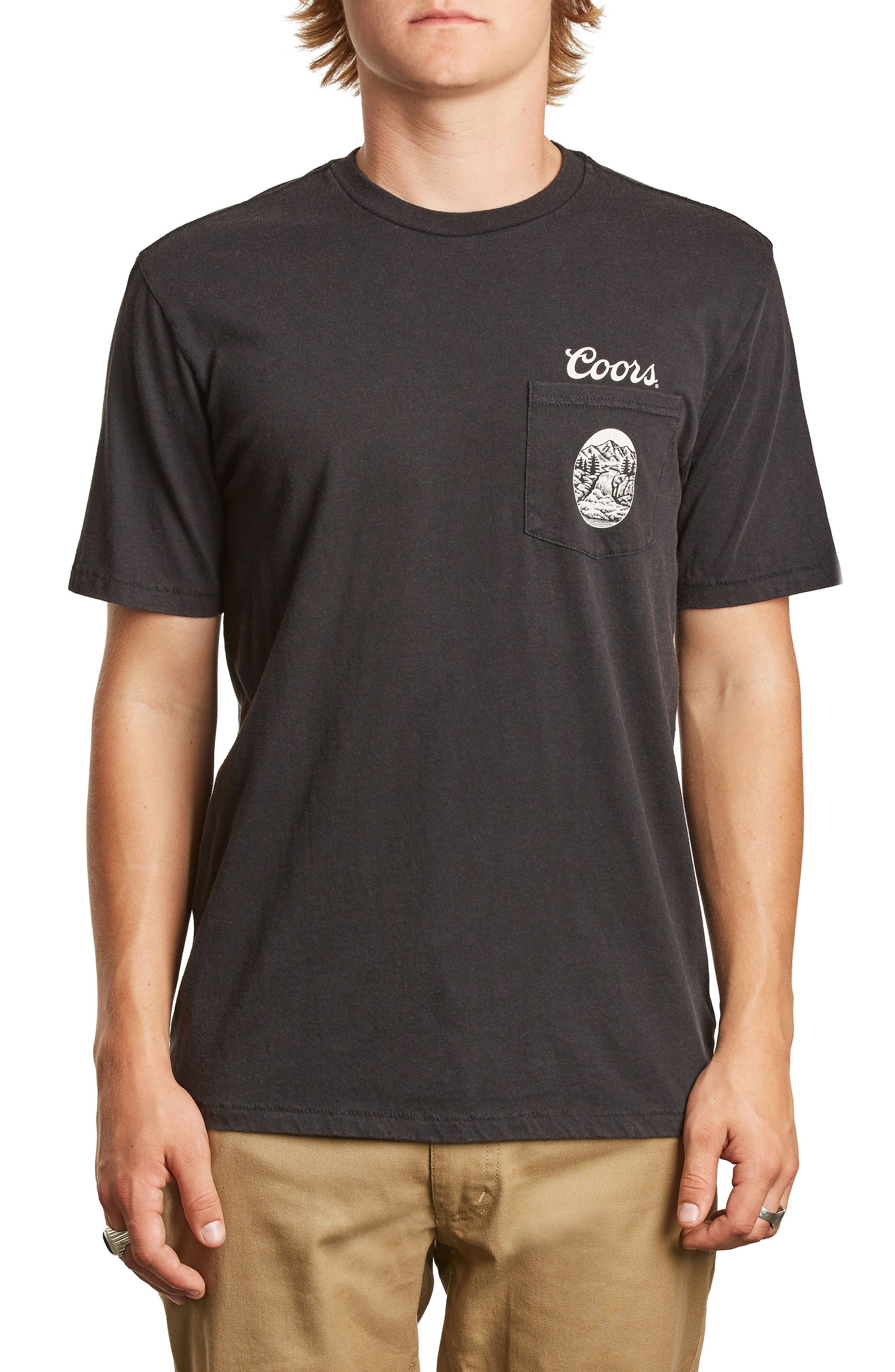 x Coors Filtered Pocket T-Shirt,                         Main,                         color, Washed Black