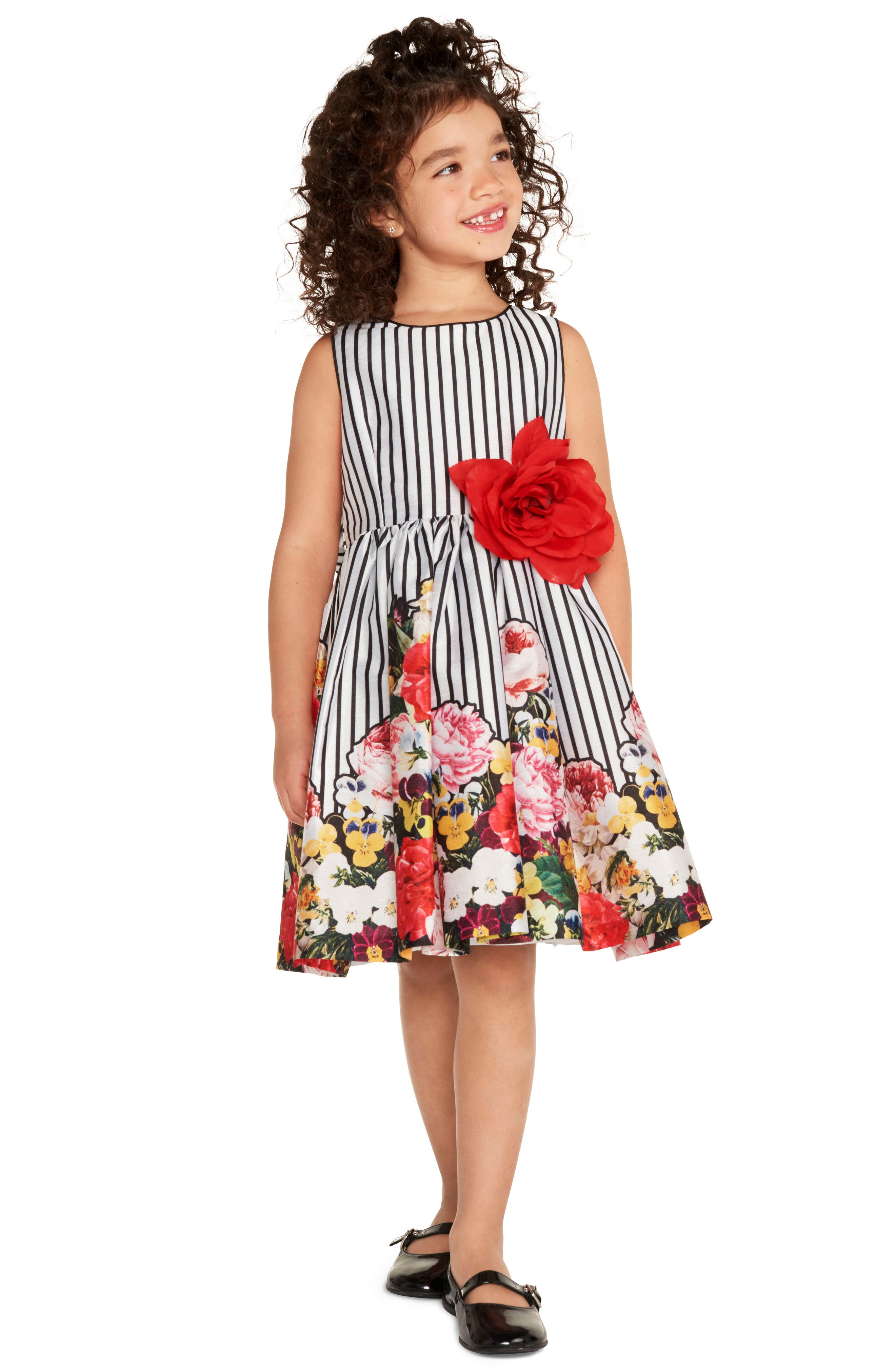 Alternate Image 2  - Pippa & Julie Stripe Floral Fit & Flare Dress (Baby Girls)