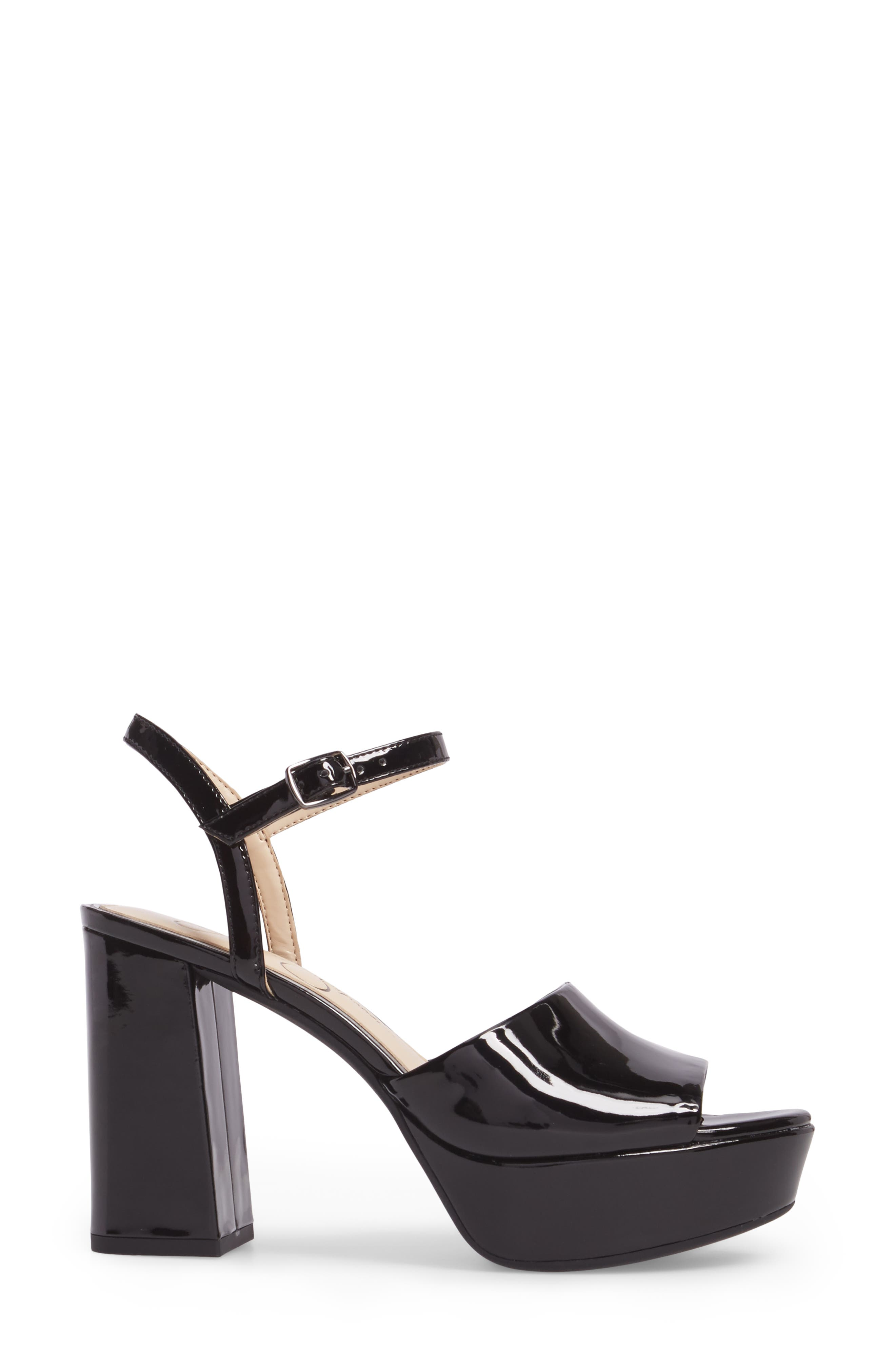 Kerrick Platform Sandal,                             Alternate thumbnail 3, color,                             Black Patent Leather