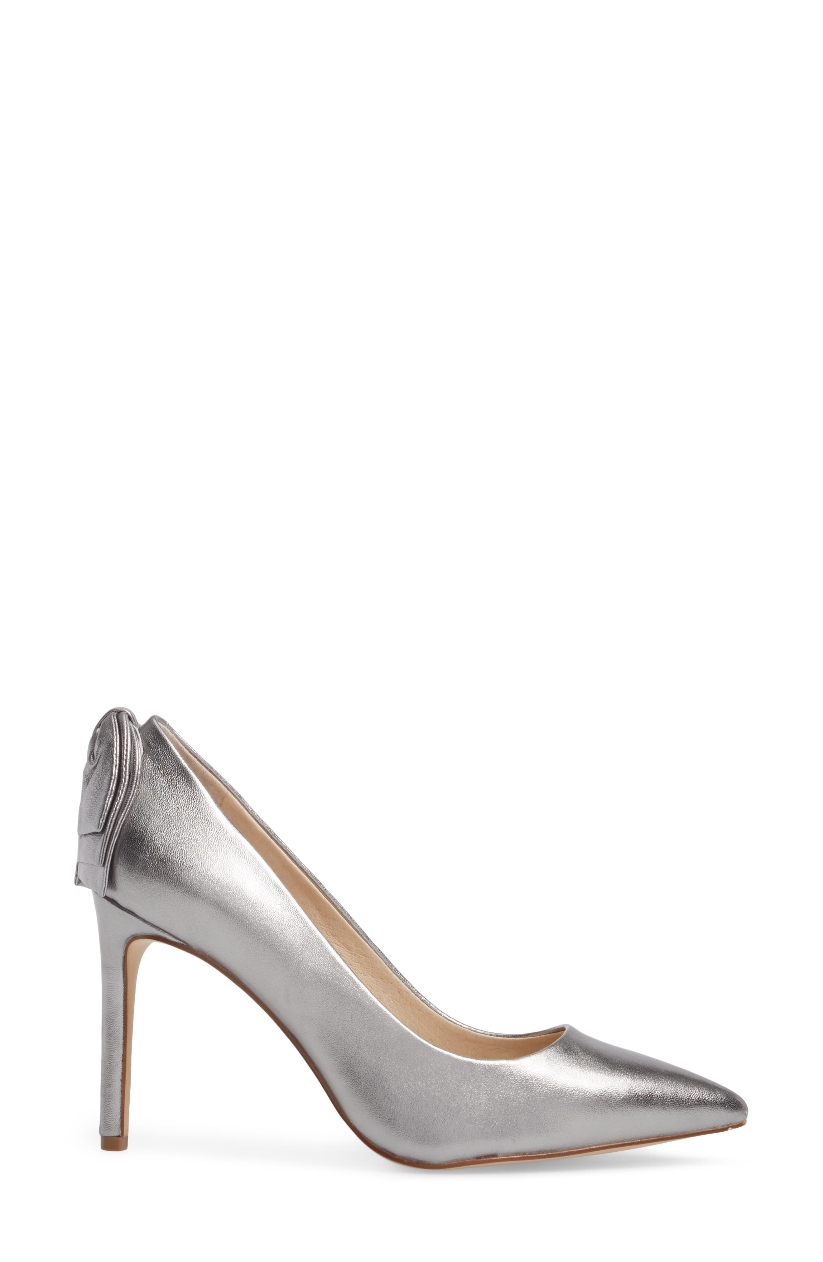 Josely Pointy Toe Pump,                             Alternate thumbnail 3, color,                             Chrome Leather