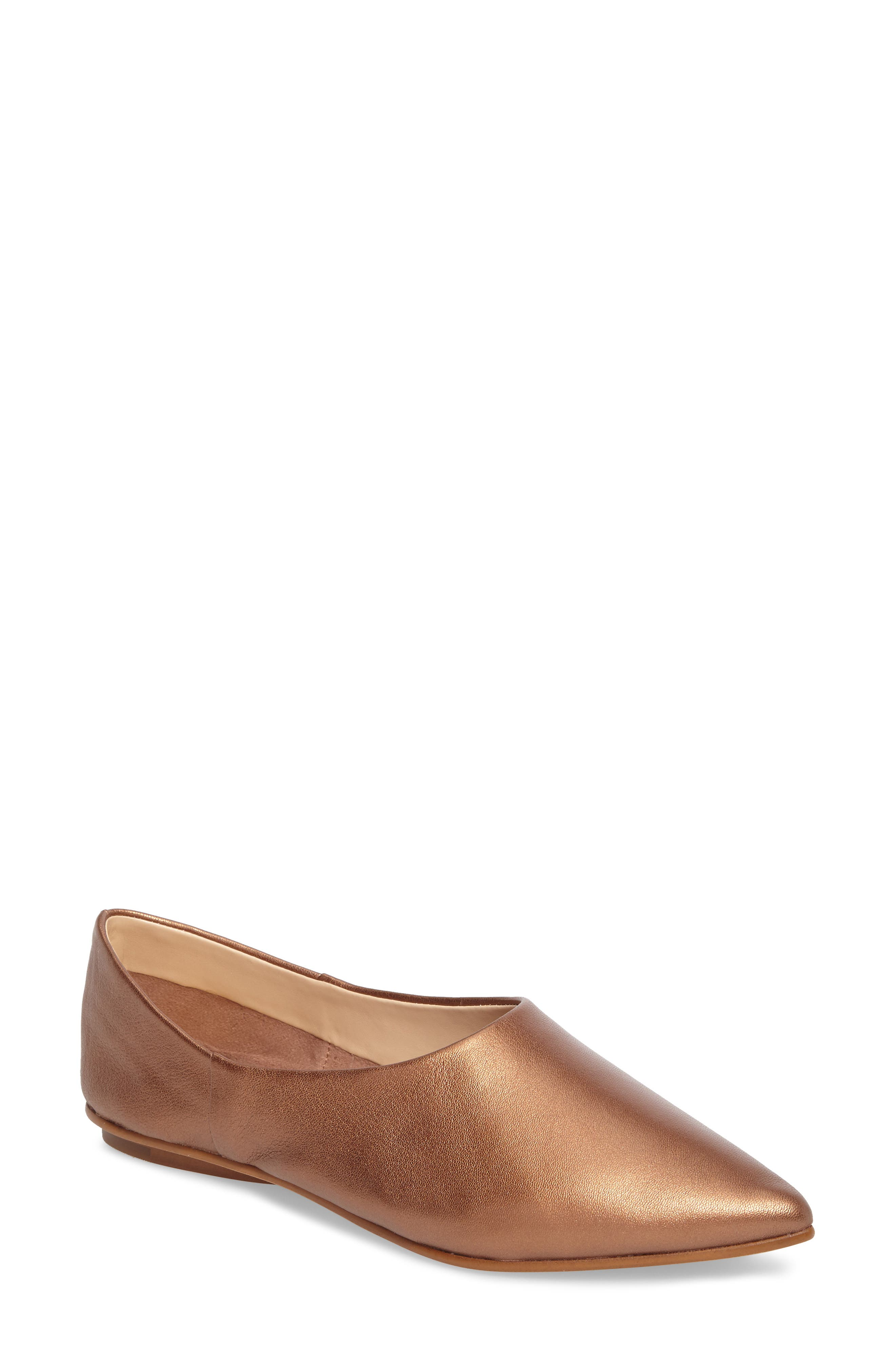 Stanta Pointy Toe Flat,                             Main thumbnail 1, color,                             Penny Leather