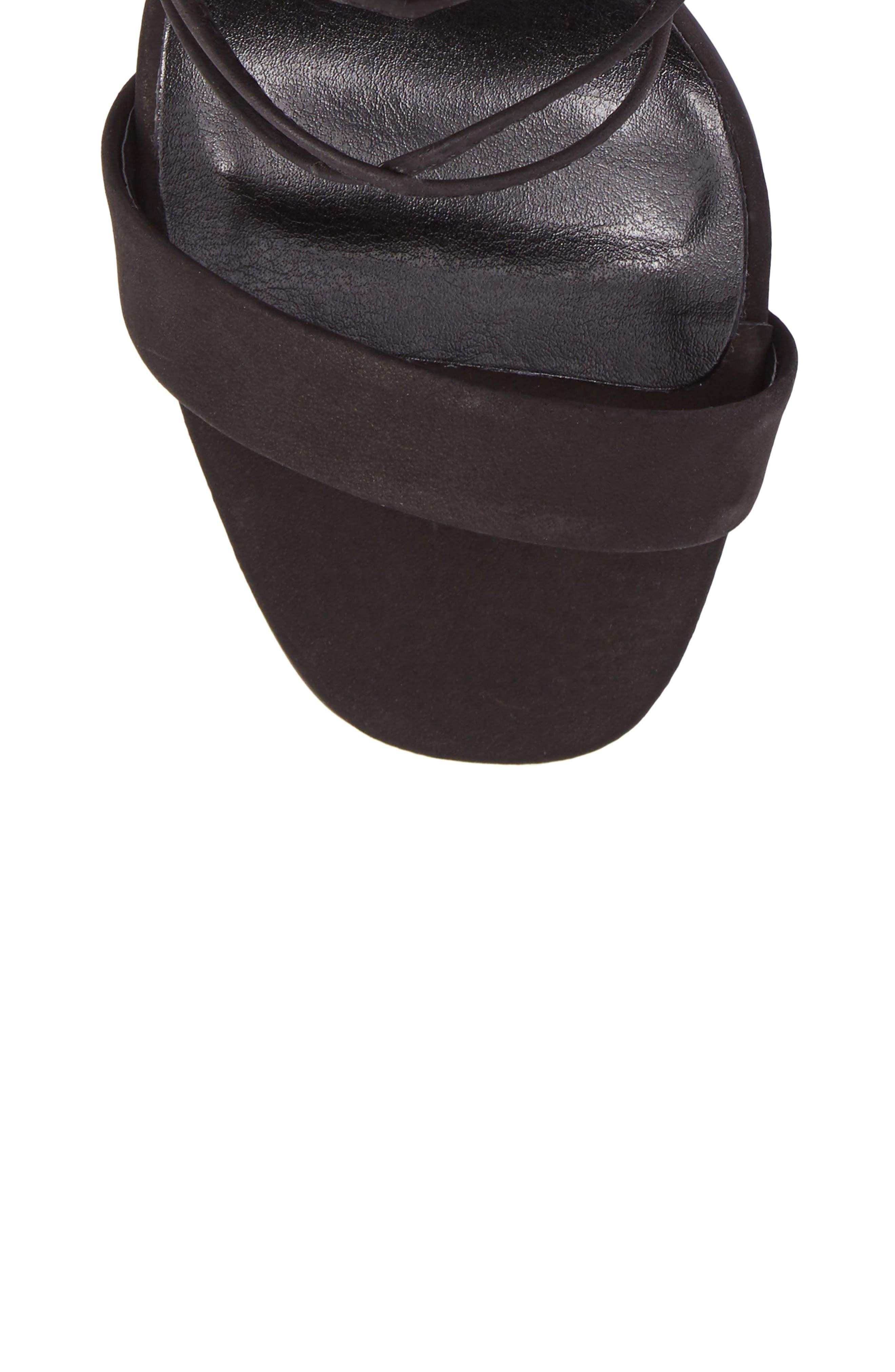 Dani Ghillie Flared Heel Sandal,                             Alternate thumbnail 5, color,                             Black Phoenix Nubuck Leather