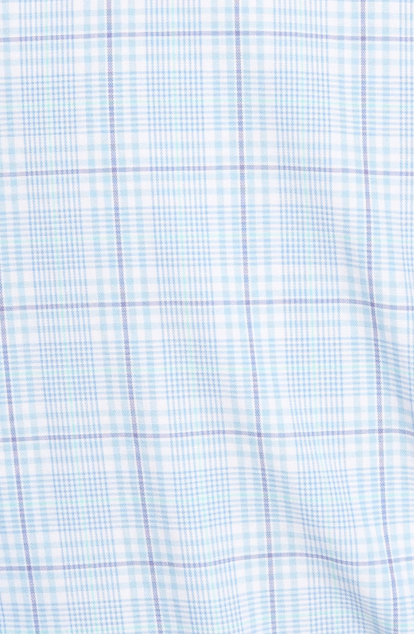 Tahiti Glen Regular Fit Plaid Sport Shirt,                             Alternate thumbnail 5, color,                             Tar Heel Blue