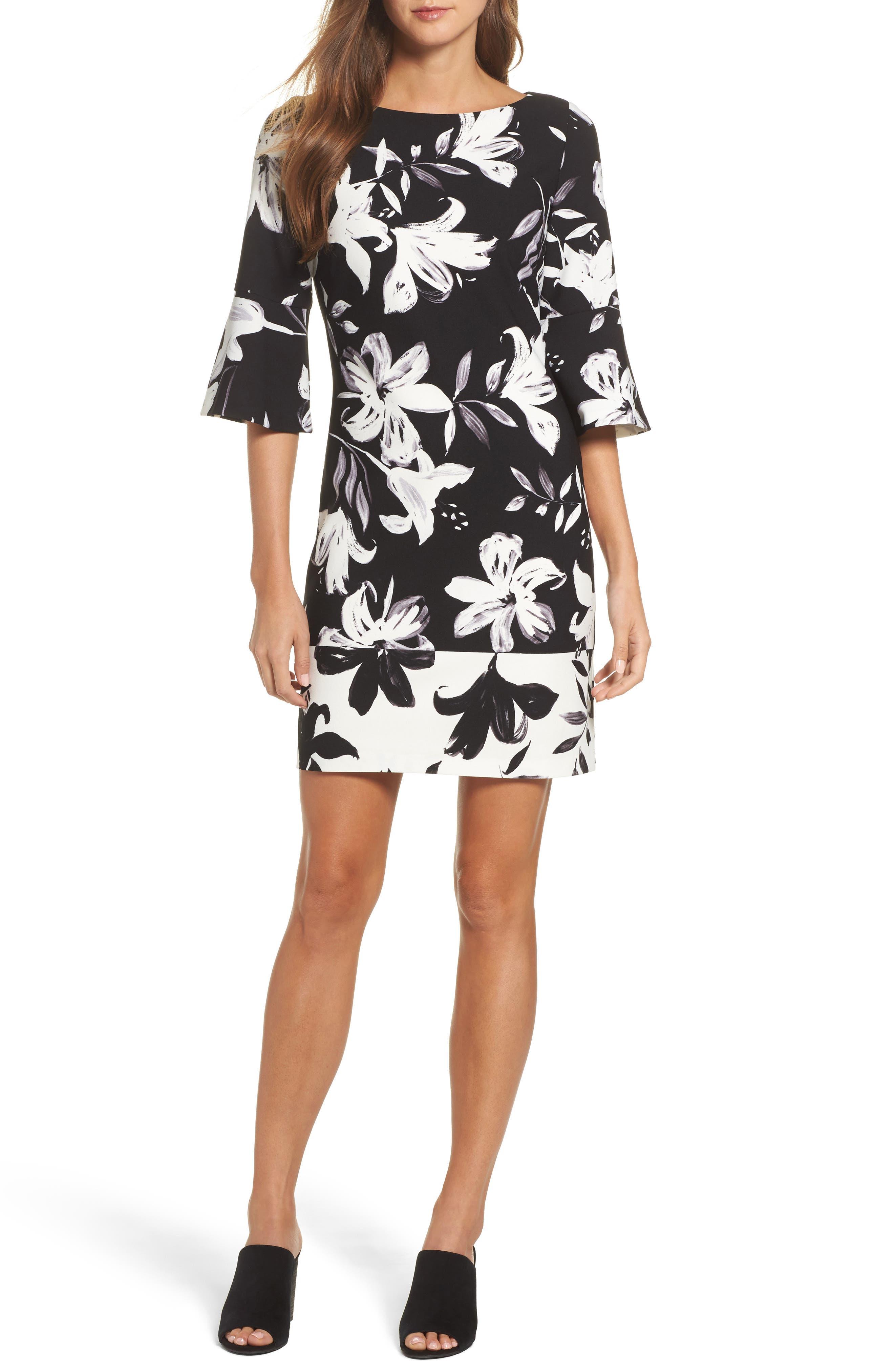 Flare Sleeve Shift Dress,                         Main,                         color, Black/ Ivory