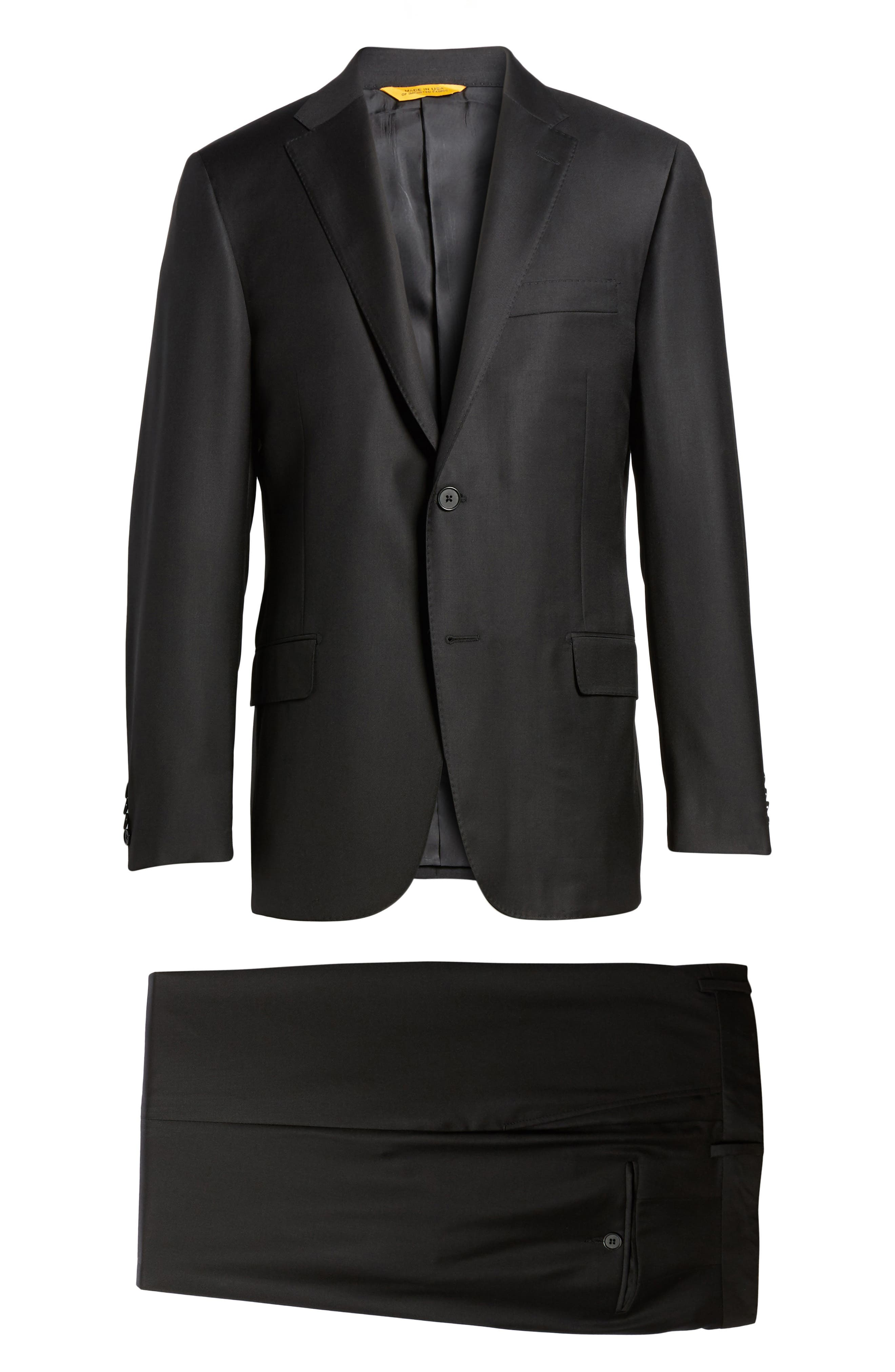 Classic B Fit Solid Loro Piana Wool Suit,                             Alternate thumbnail 8, color,                             Black Solid