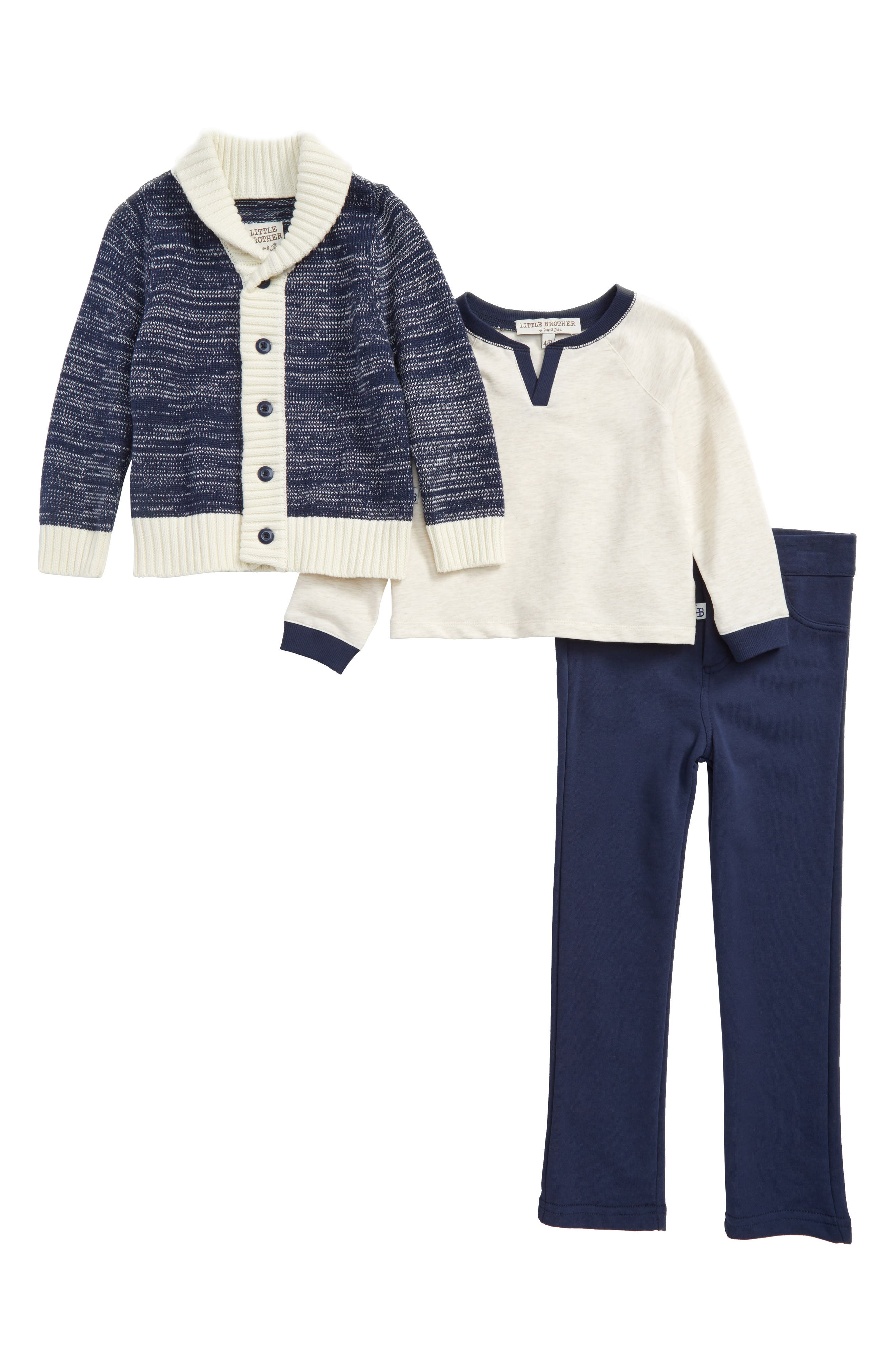 Alternate Image 1 Selected - Little Brother by Pippa & Julie Shawl Collar Sweater, Henley & Pants Set (Baby Boys)