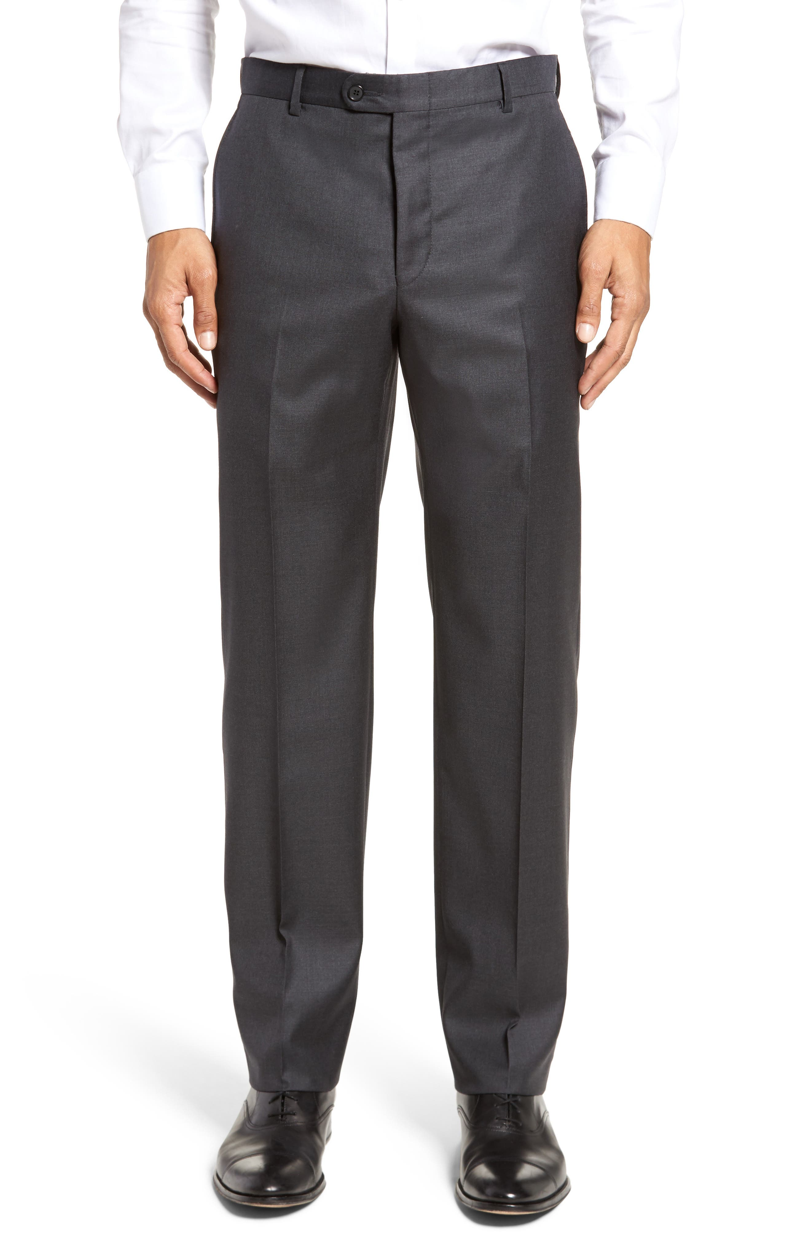 Classic B Fit Flat Front Solid Wool Trousers,                         Main,                         color, Charcoal Sharkskin