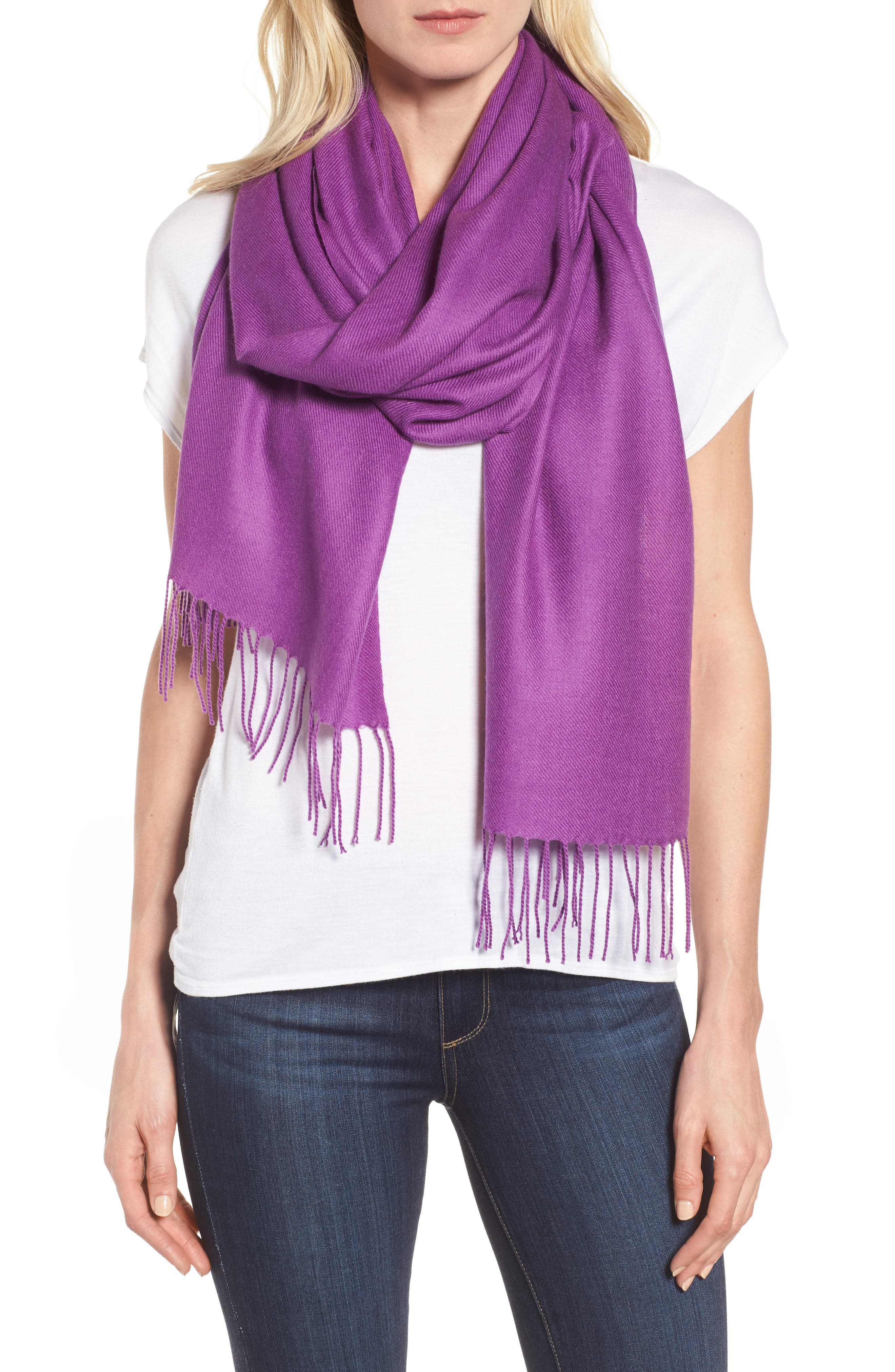 Main Image - Nordstrom Tissue Weight Wool &Cashmere Scarf