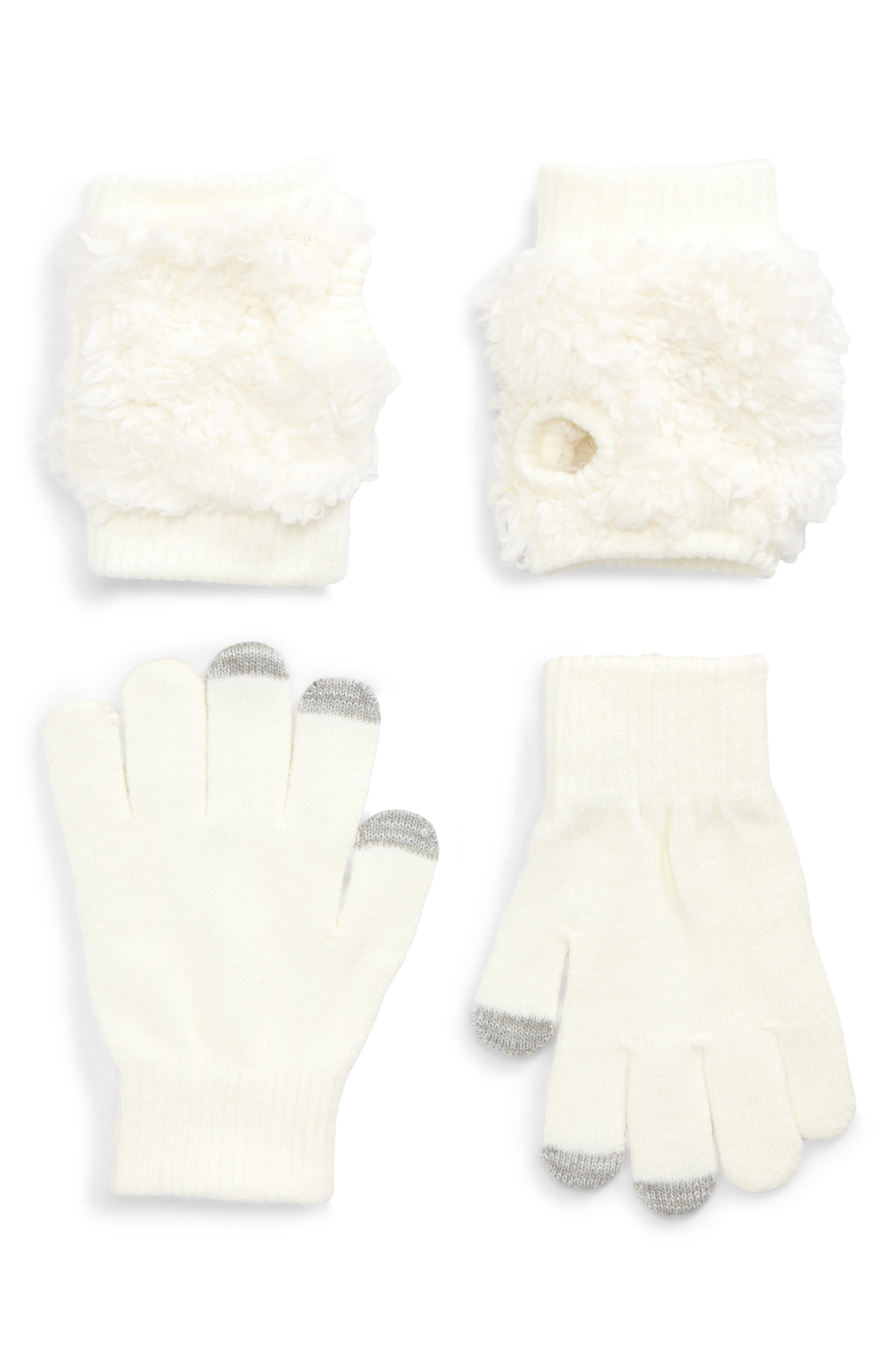 Bunny Convertible Gloves,                             Alternate thumbnail 2, color,                             Ivory