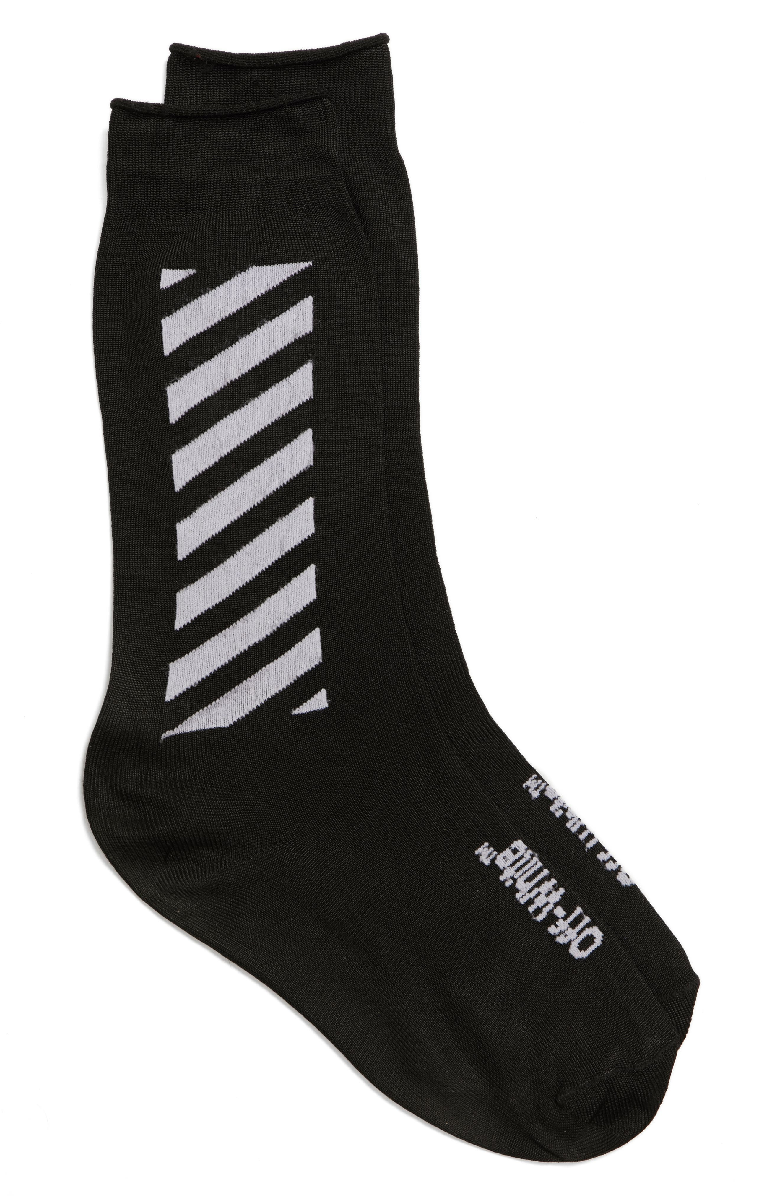 Diagonal Long Socks,                         Main,                         color, Black/ White