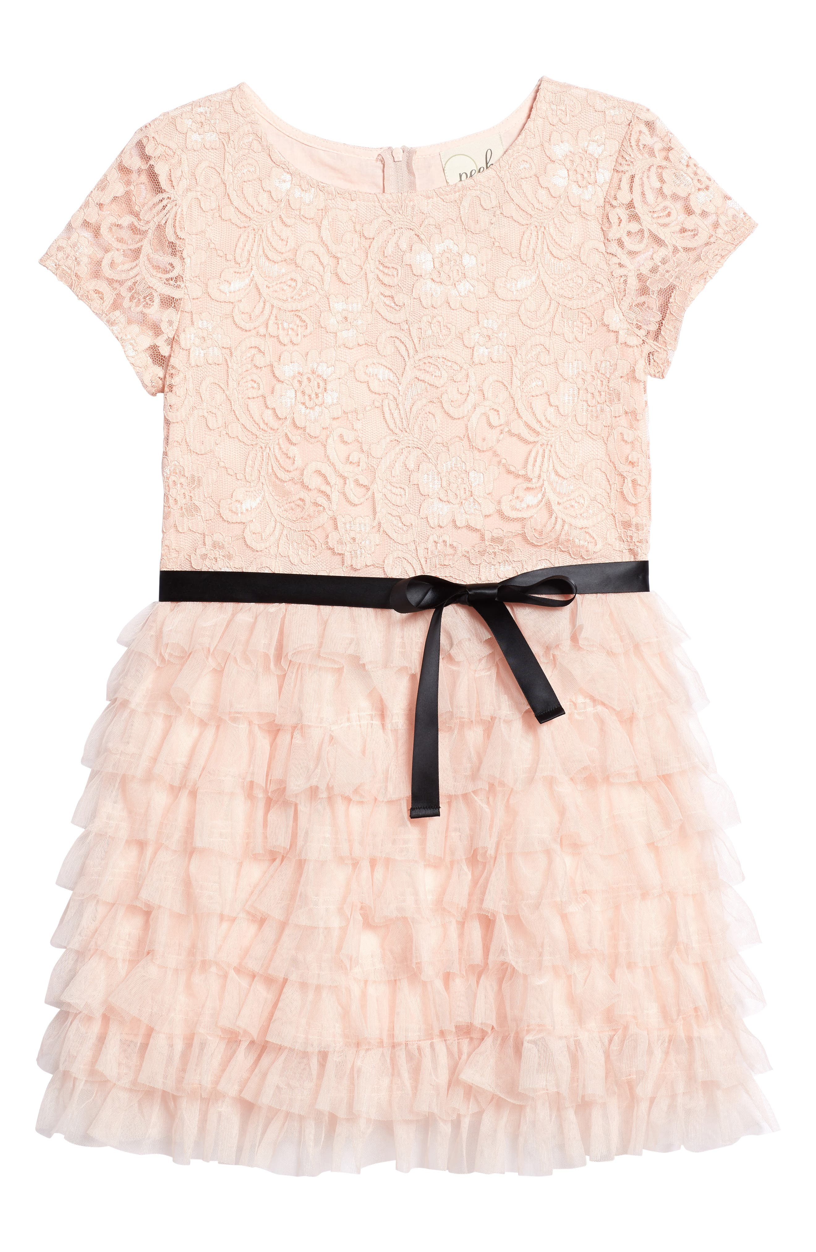Audrey Lace & Ruffle Party Dress,                         Main,                         color, Pink
