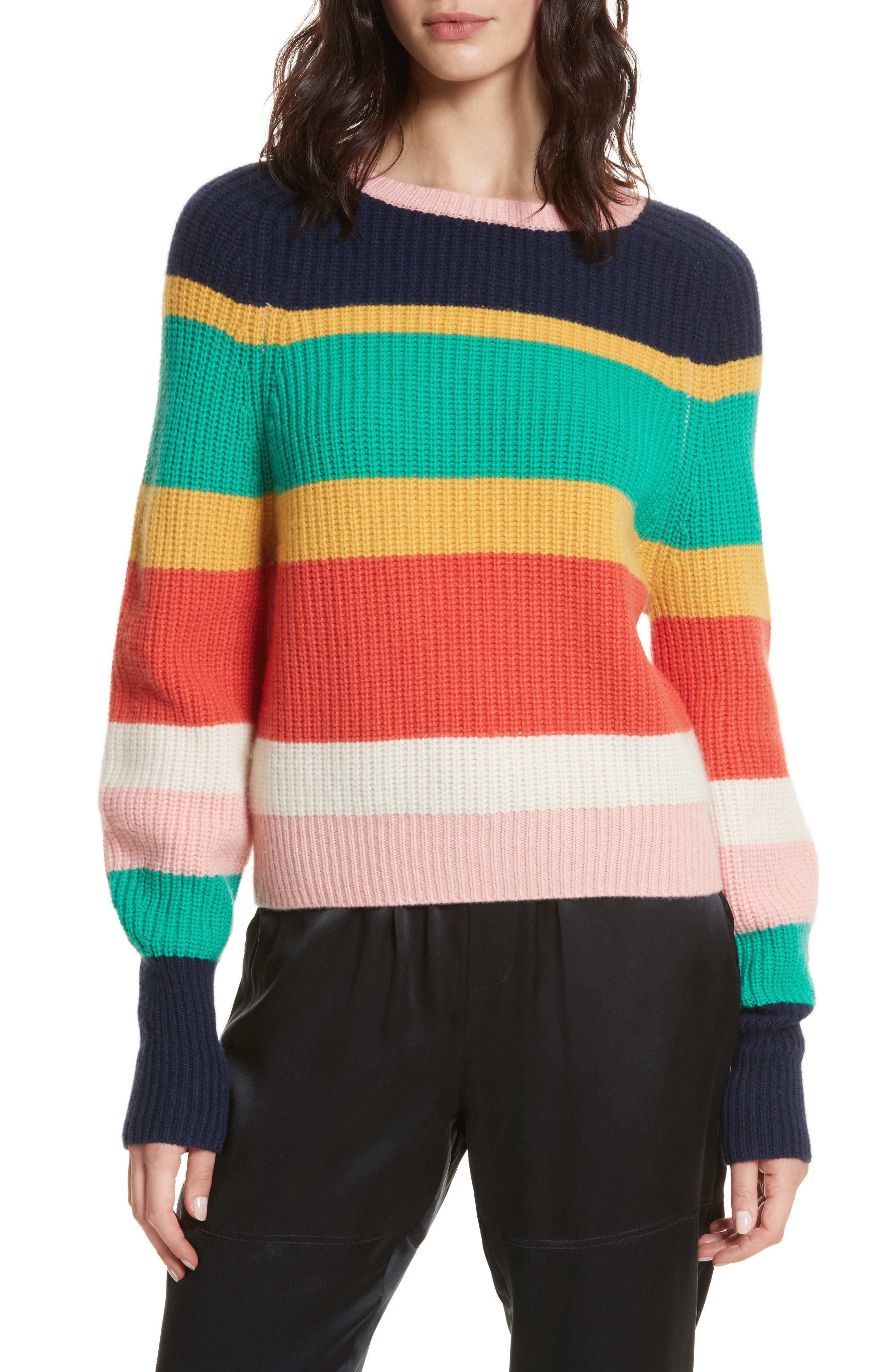 Haady Stripe Wool & Cashmere Sweater,                             Main thumbnail 1, color,                             Multi Stripe