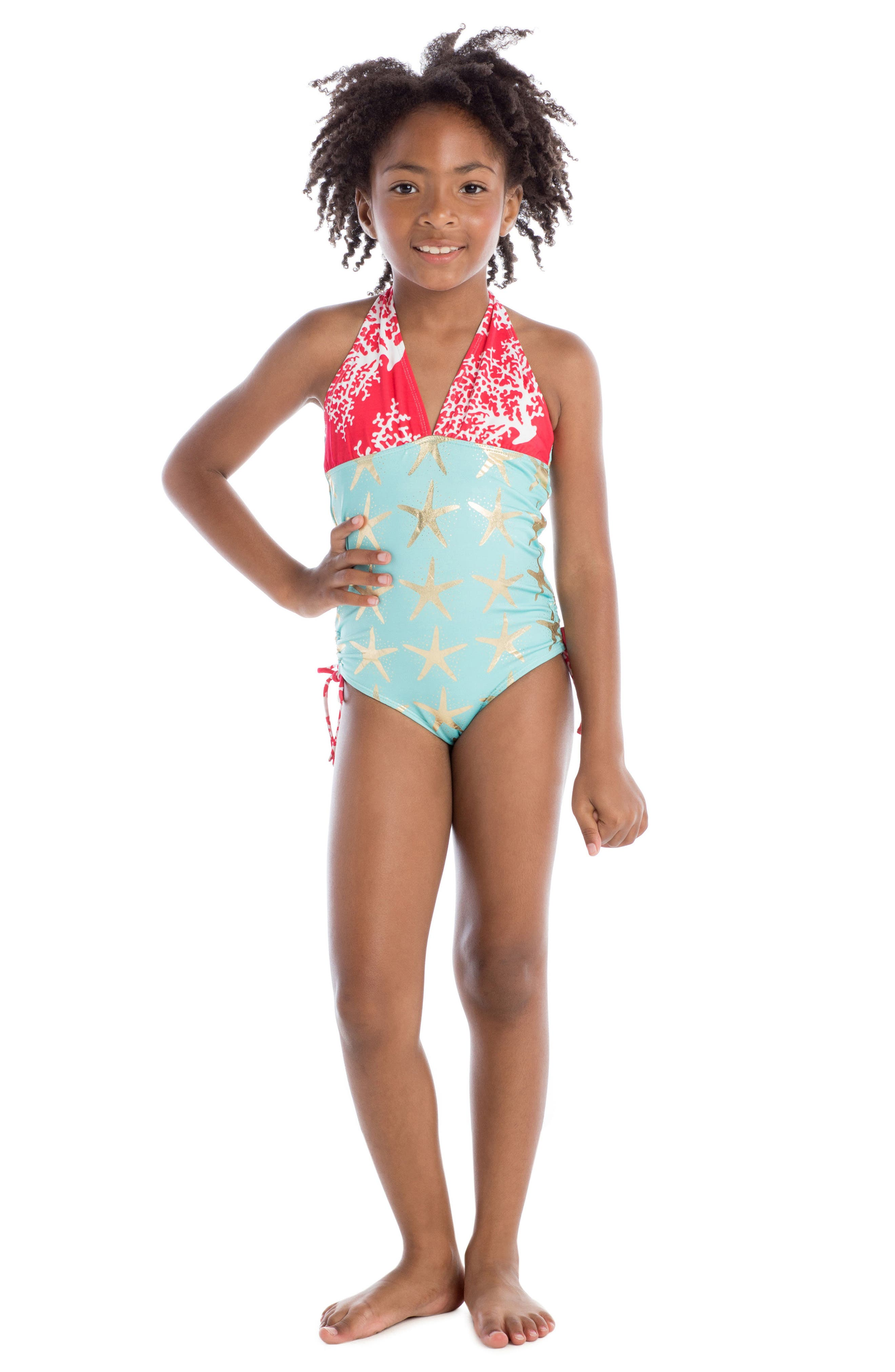 One-Piece Halter Swimsuit,                             Alternate thumbnail 2, color,                             Turquoise
