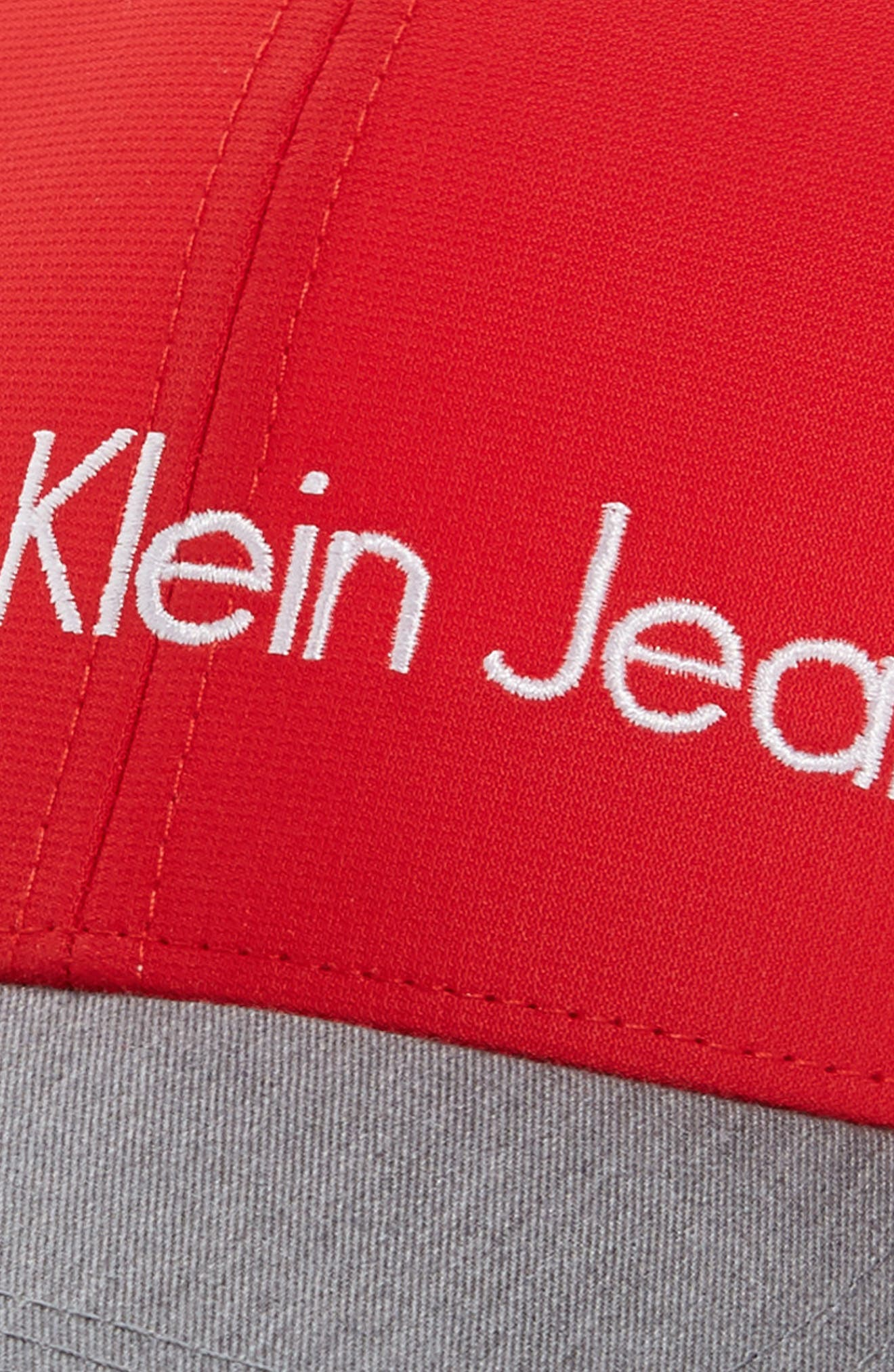 Calvin Klein Logo Trucker Cap,                             Alternate thumbnail 3, color,                             Red Gala