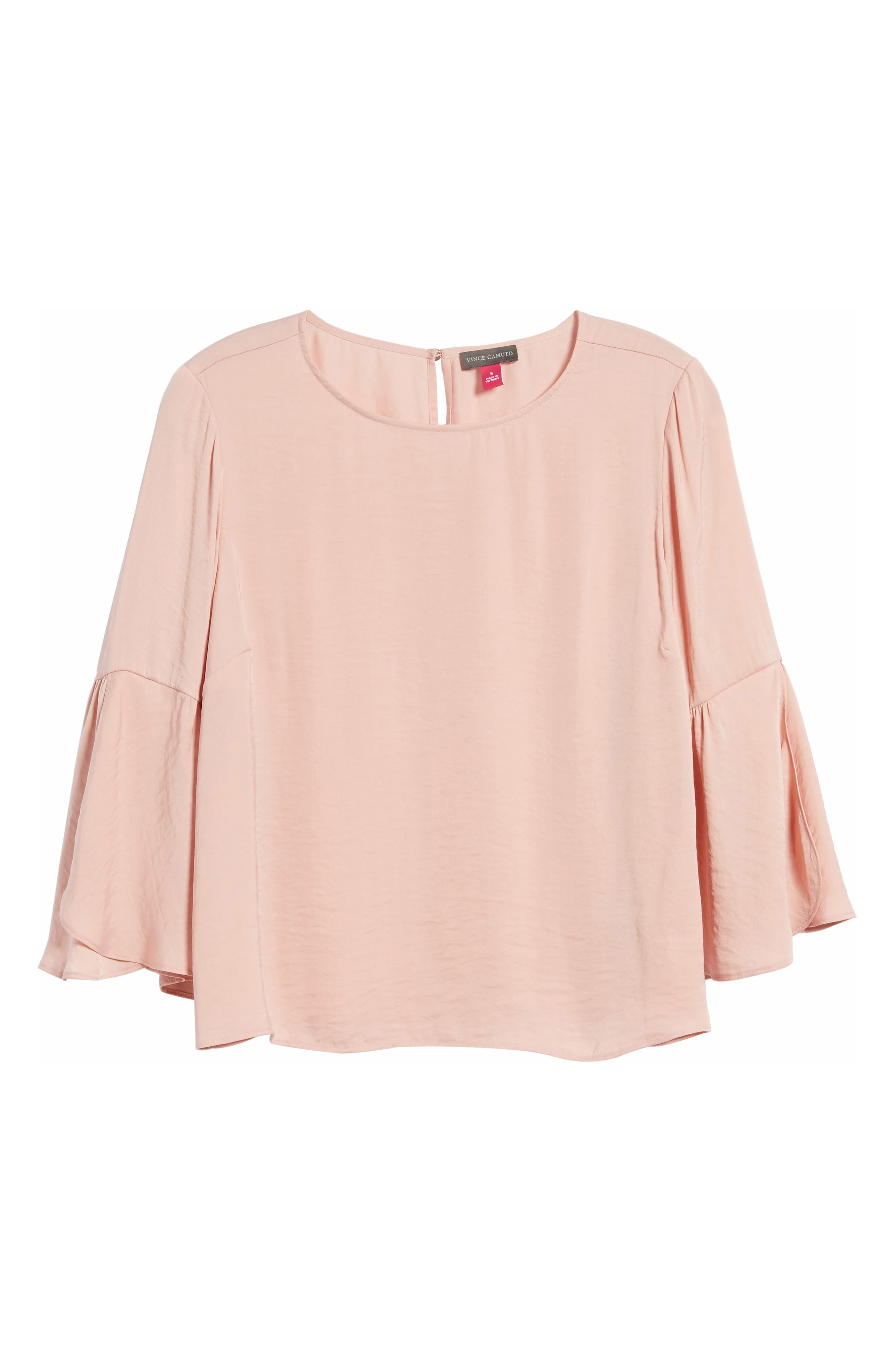 Alternate Image 6  - Vince Camuto Hammer Satin Bell Sleeve Blouse