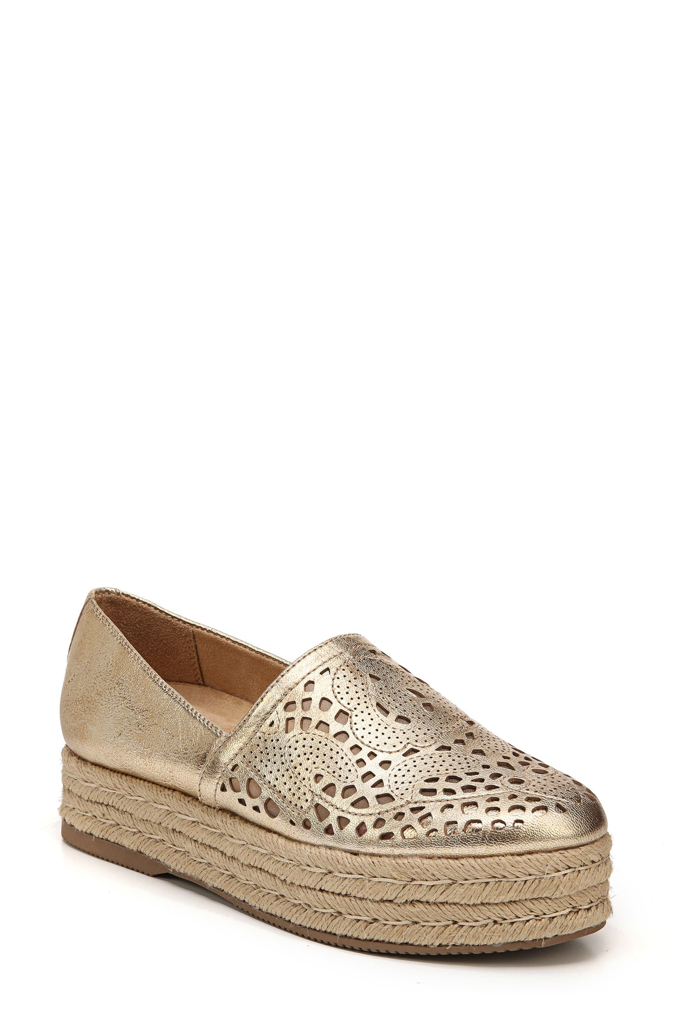 Thea Perforated Platform Espadrille,                         Main,                         color, Platino Leather