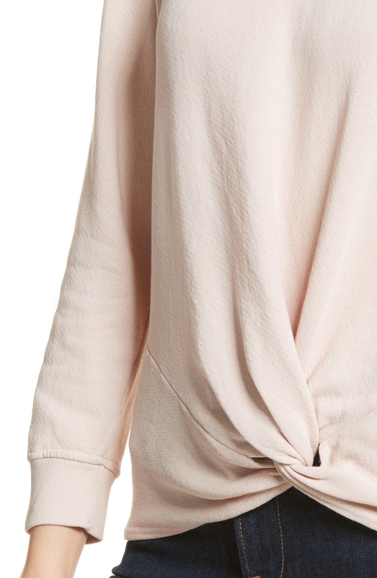 Nazani Twist Front Sweatshirt,                             Alternate thumbnail 4, color,                             Heather Rose