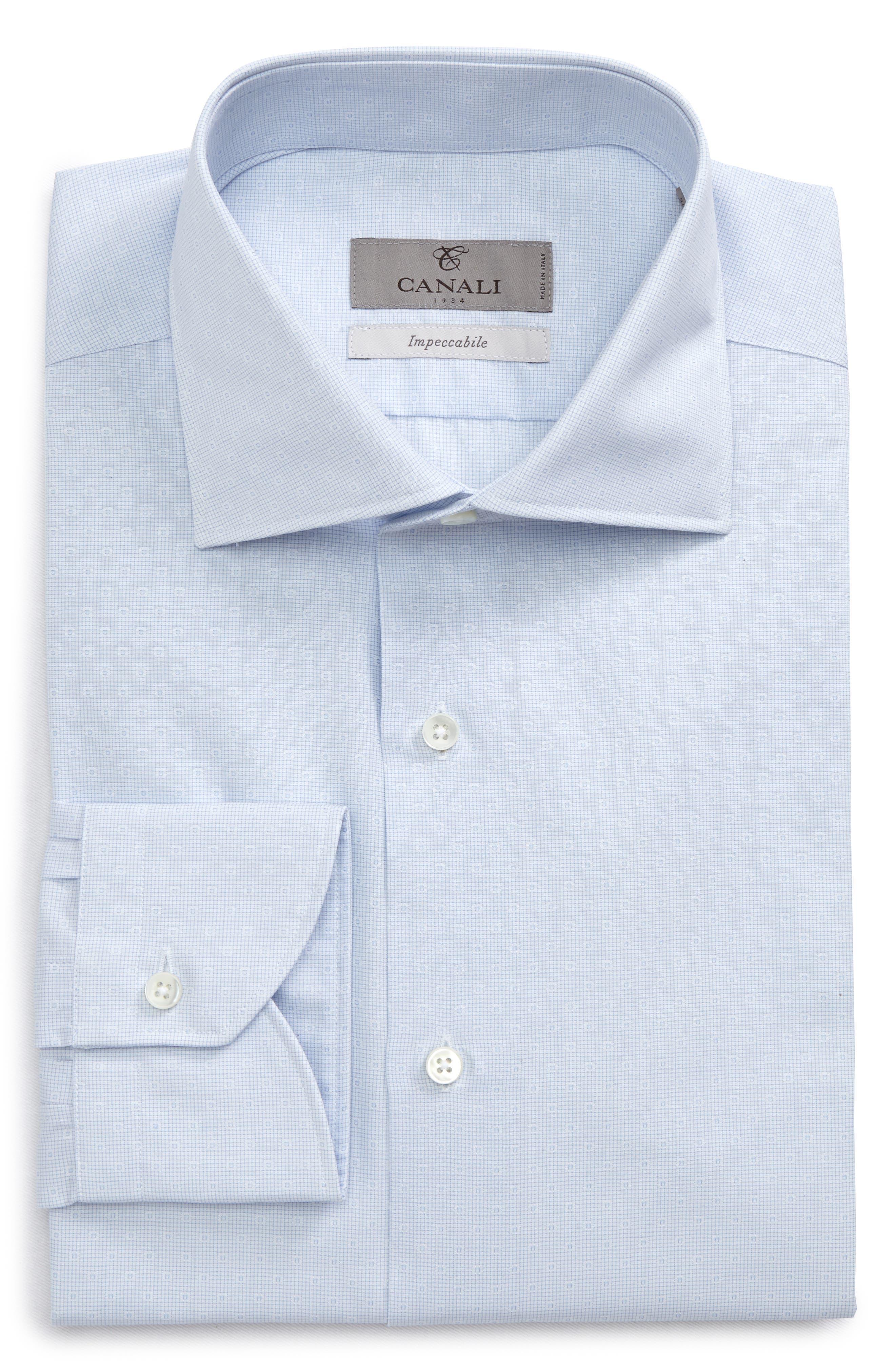 Canali Regular Fit Dobby Check Dress Shirt
