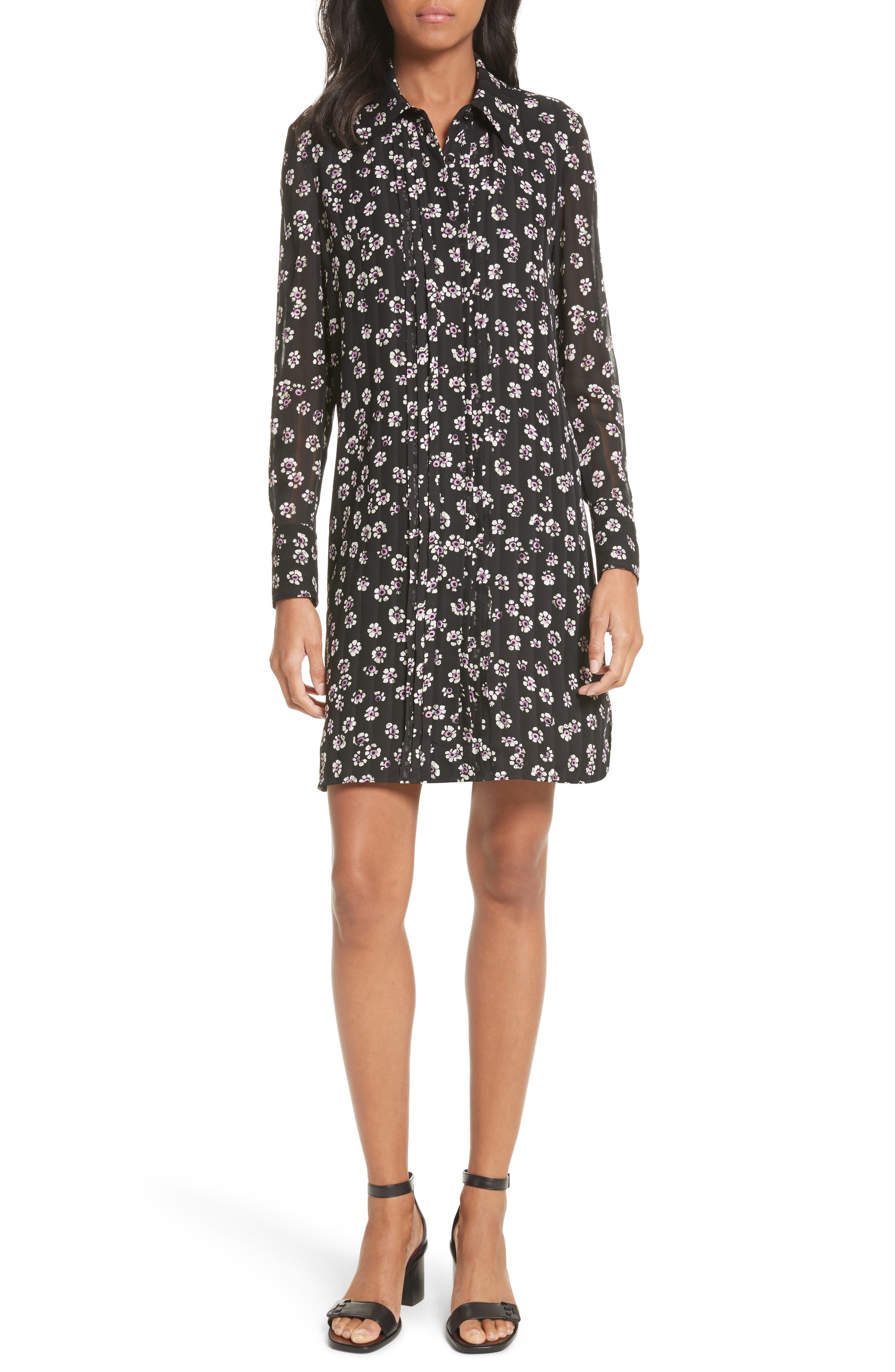 Avery Floral Silk Shirtdress,                             Main thumbnail 1, color,                             Black Stamped Floral