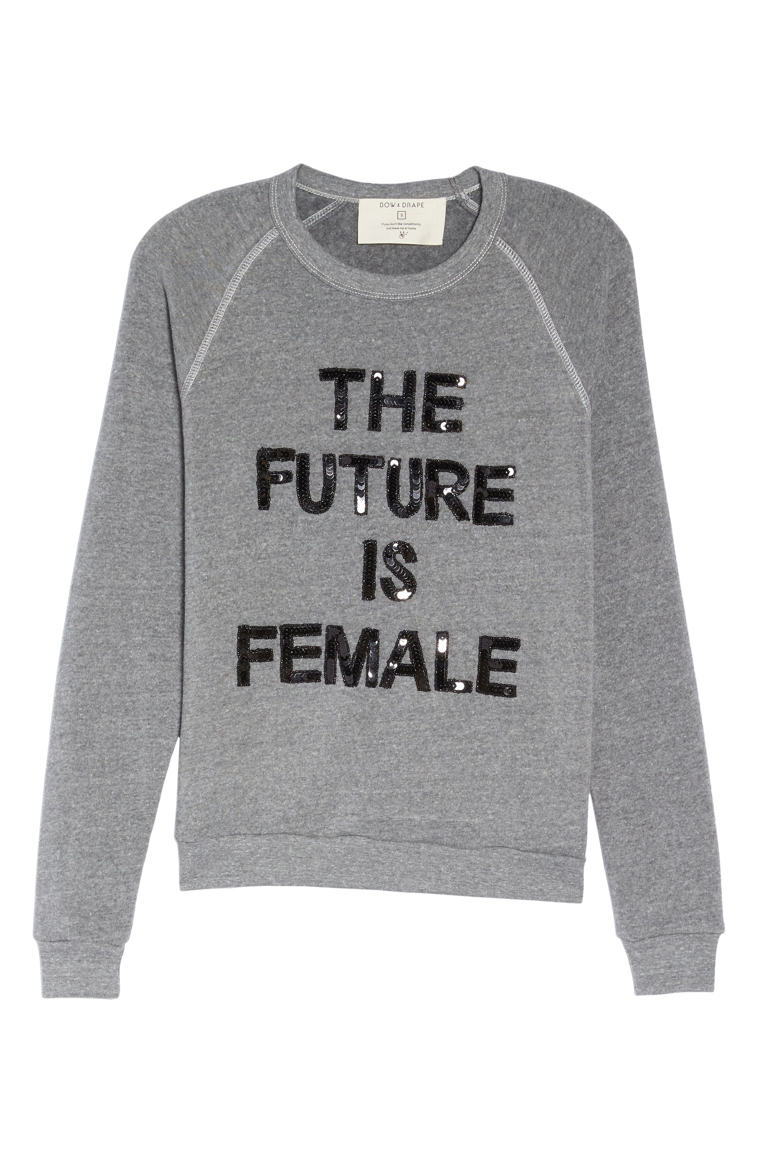 The Future is Female French Terry Sweatshirt,                             Alternate thumbnail 4, color,                             Heather Grey