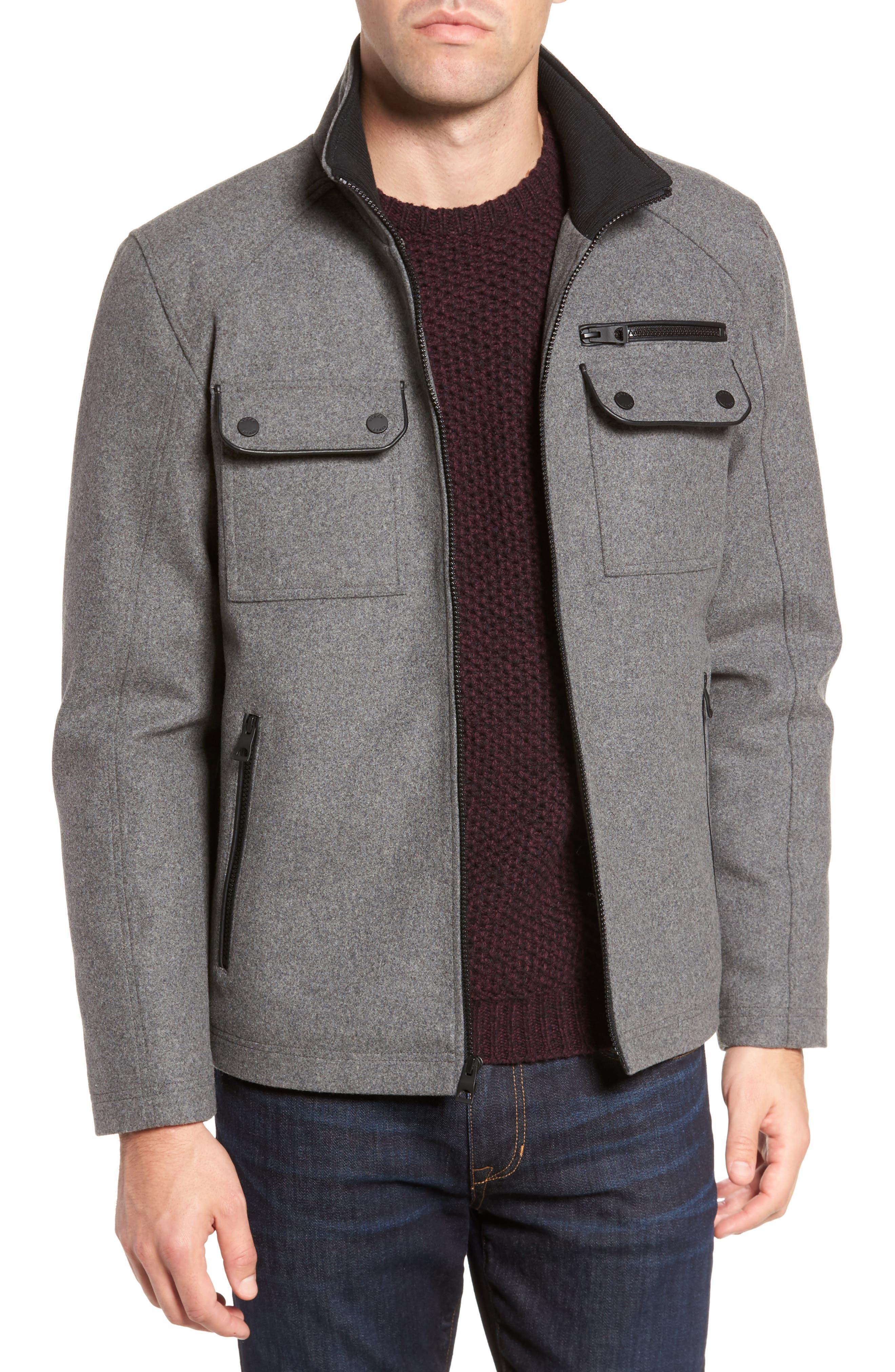 Black Rivet Stand Collar Wool Blend Jacket
