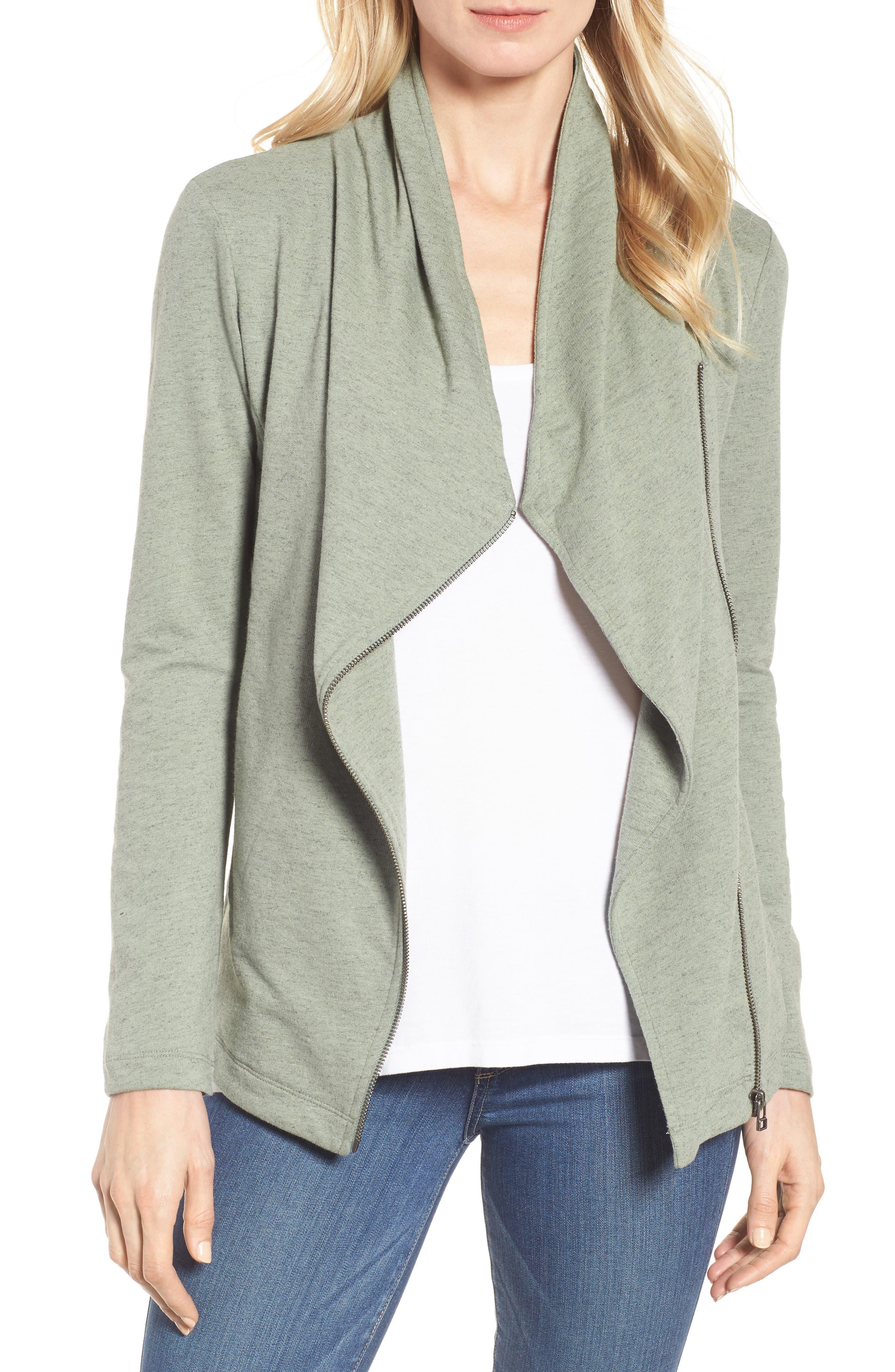 Stella Knit Jacket,                         Main,                         color, Green Dune